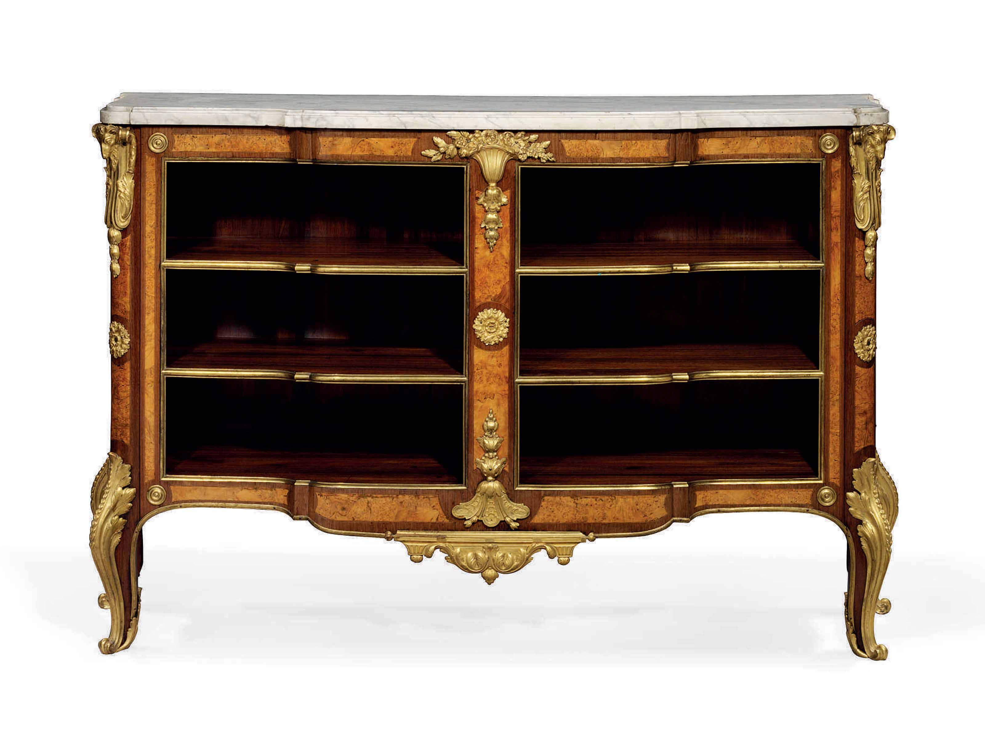 A LATE LOUIS XV ORMOLU-MOUNTED AMARANTH, BURR-WALNUT, MAPLE AND BOIS SATINE COMMODE EN BIBLIOTHEQUE