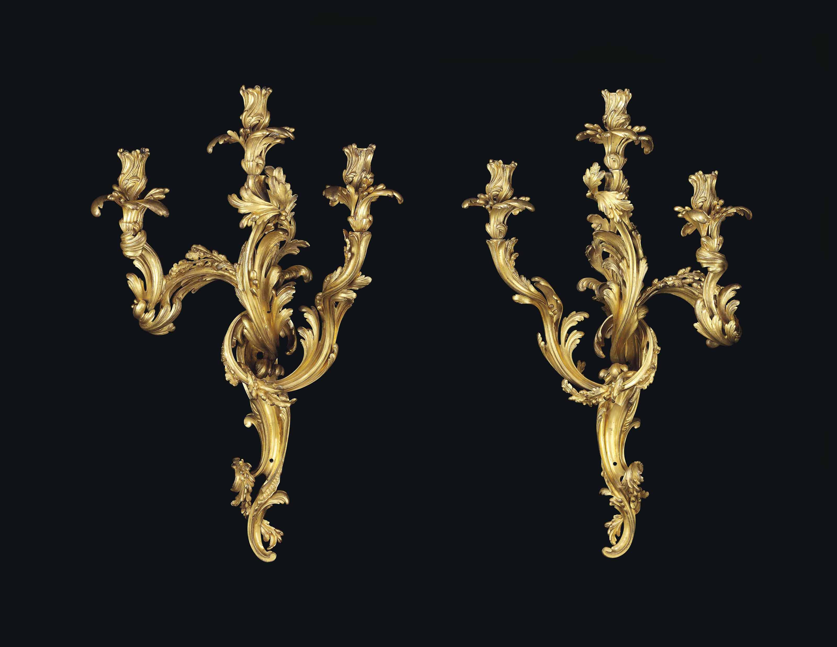 A PAIR OF LOUIS XV ORMOLU THREE-BRANCH WALL-LIGHTS