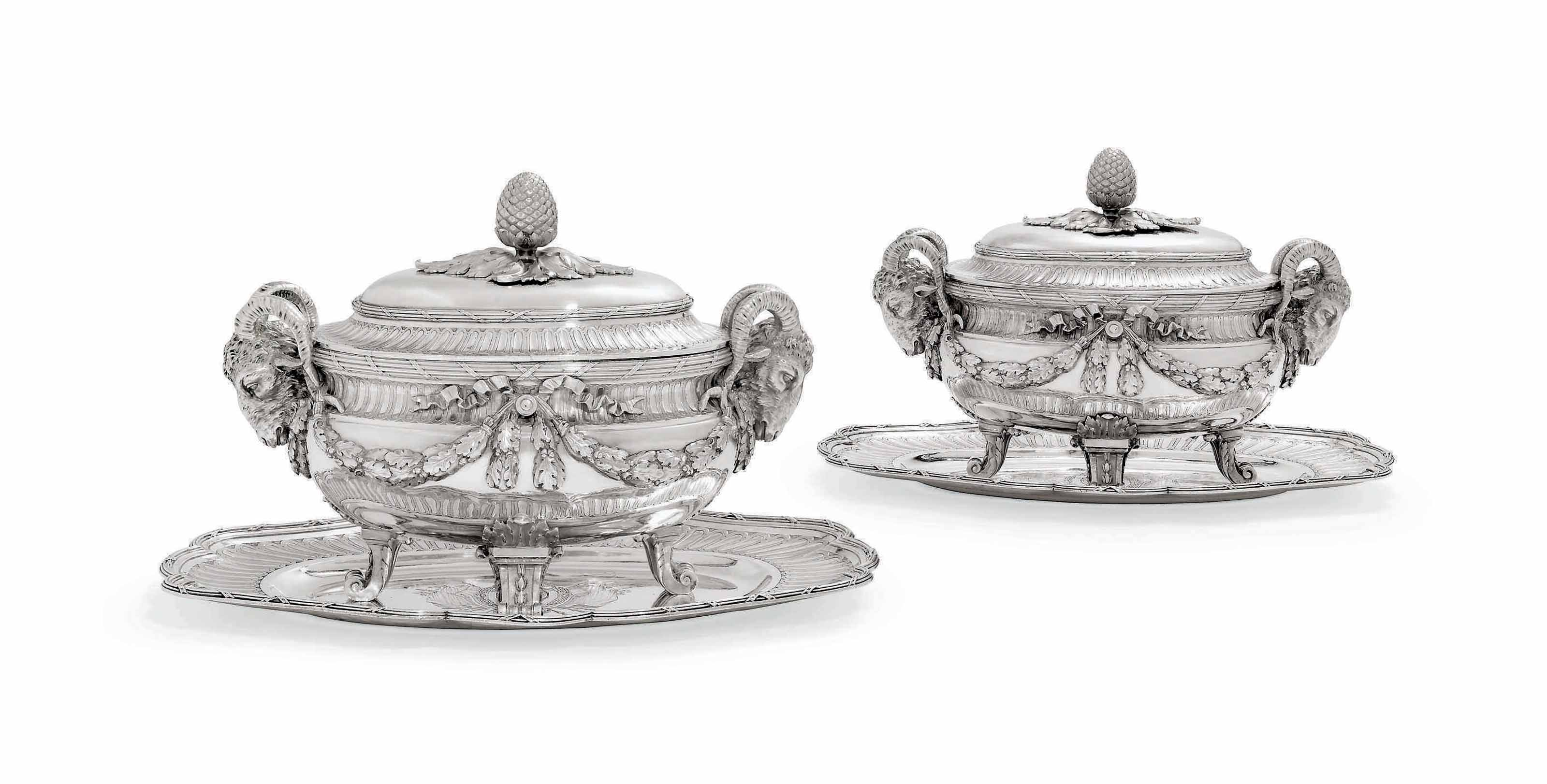A PAIR OF LATE LOUIS XV SILVER SOUP-TUREENS, COVERS AND STANDS FROM THE BRANICKI SERVICE