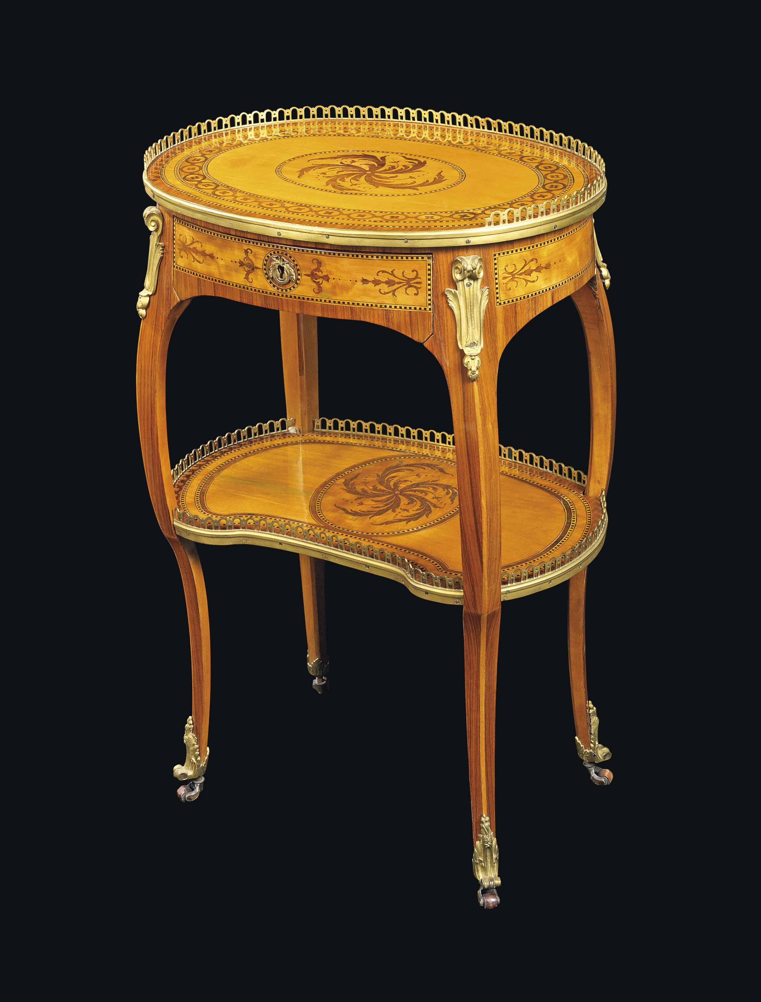A LATE LOUIS XV ORMOLU-MOUNTED TULIPWOOD, CITRONNIER AND MARQUETRY PETIT TABLE A ECRIRE