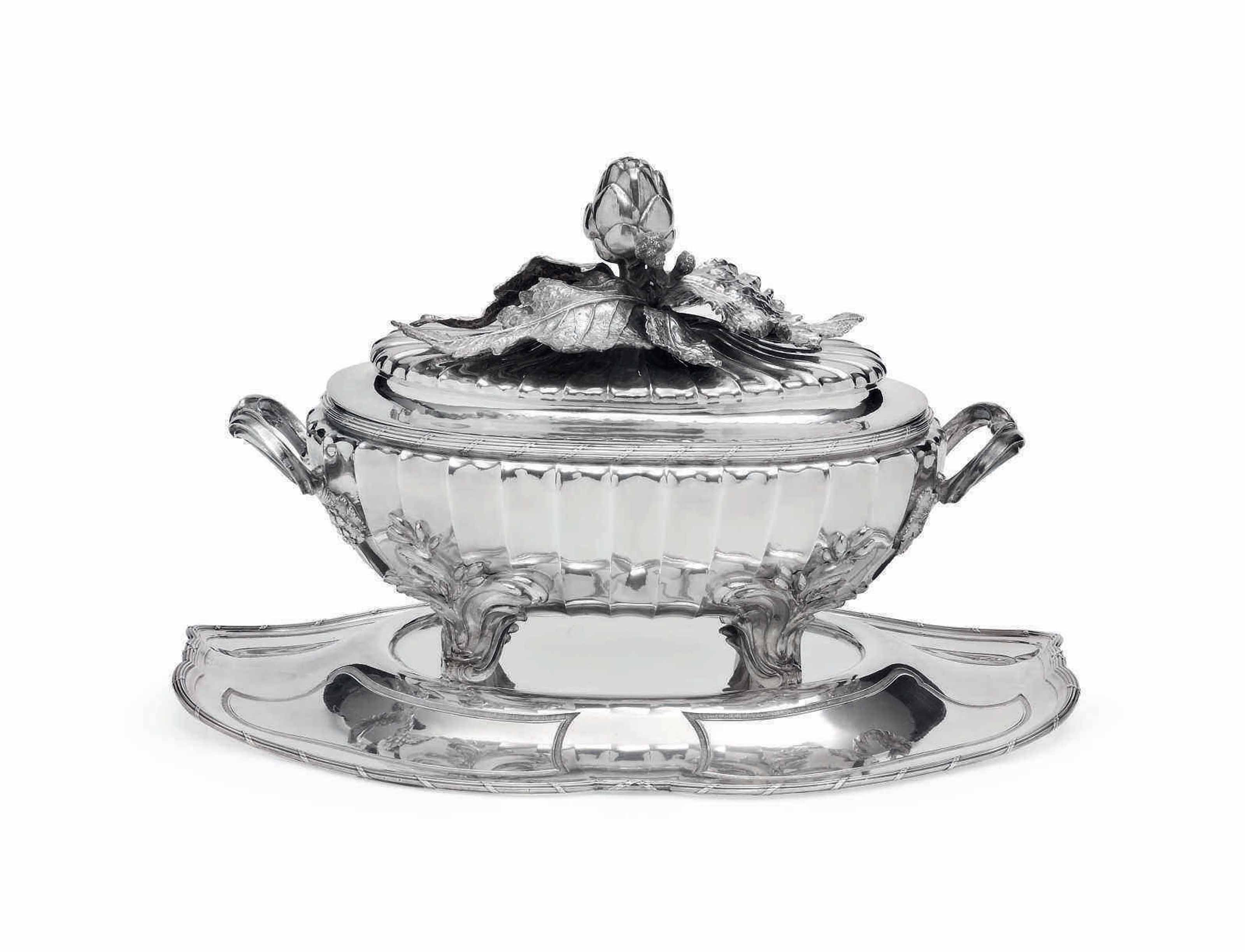 A LOUIS XV SILVER SOUP-TUREEN, COVER AND STAND