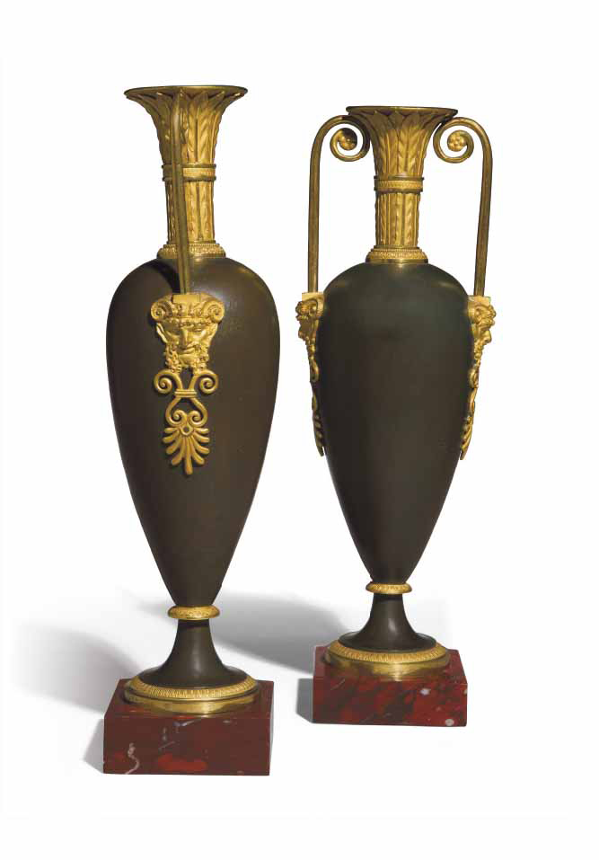 A PAIR OF EMPIRE ORMOLU AND PATINATED BRONZE VASES