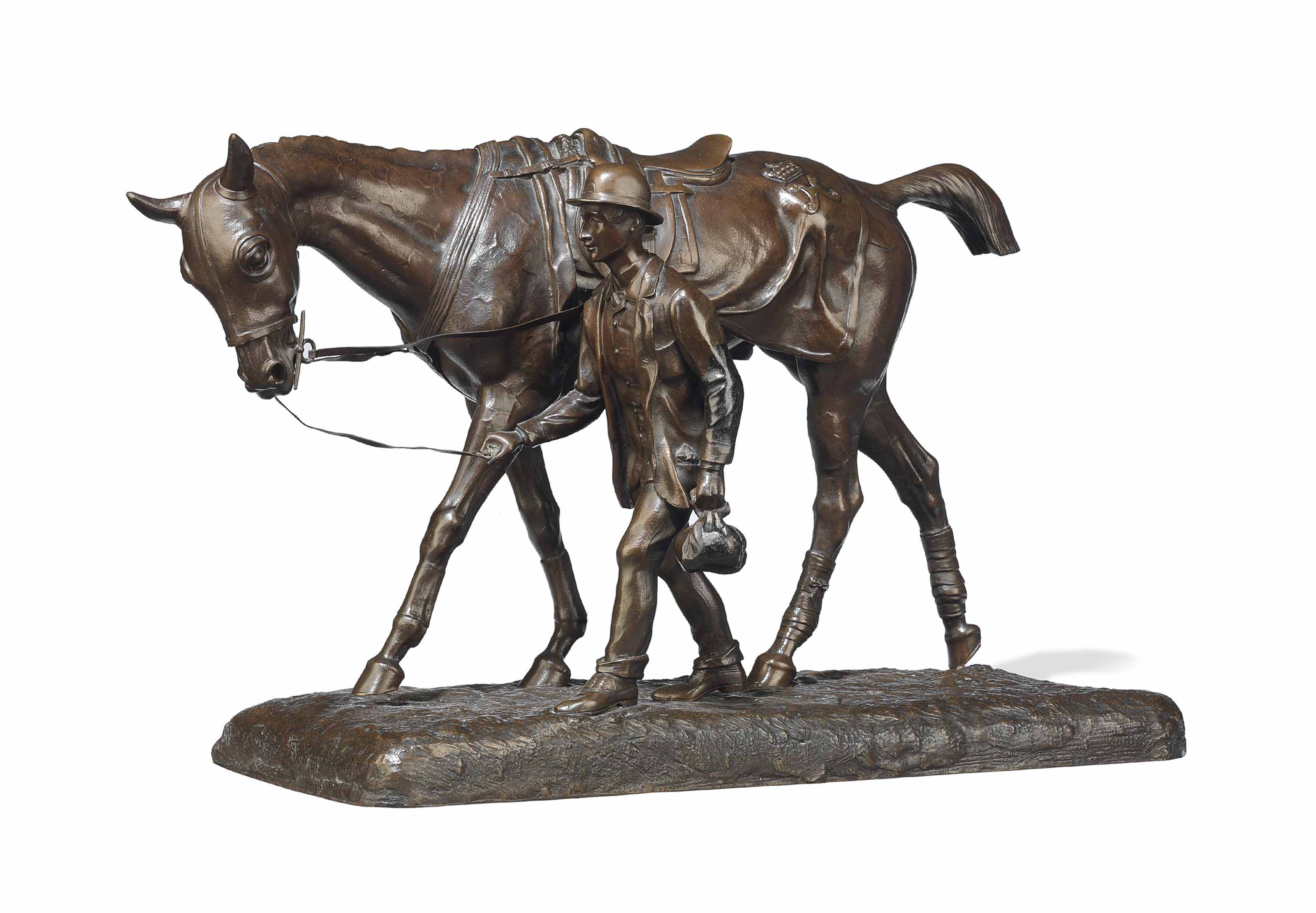 A FRENCH BRONZE EQUESTRIAN GROUP ENTITLED 'CHEVAL MARCHANT ET SON LAD' (WALKING HORSE AND GROOM)