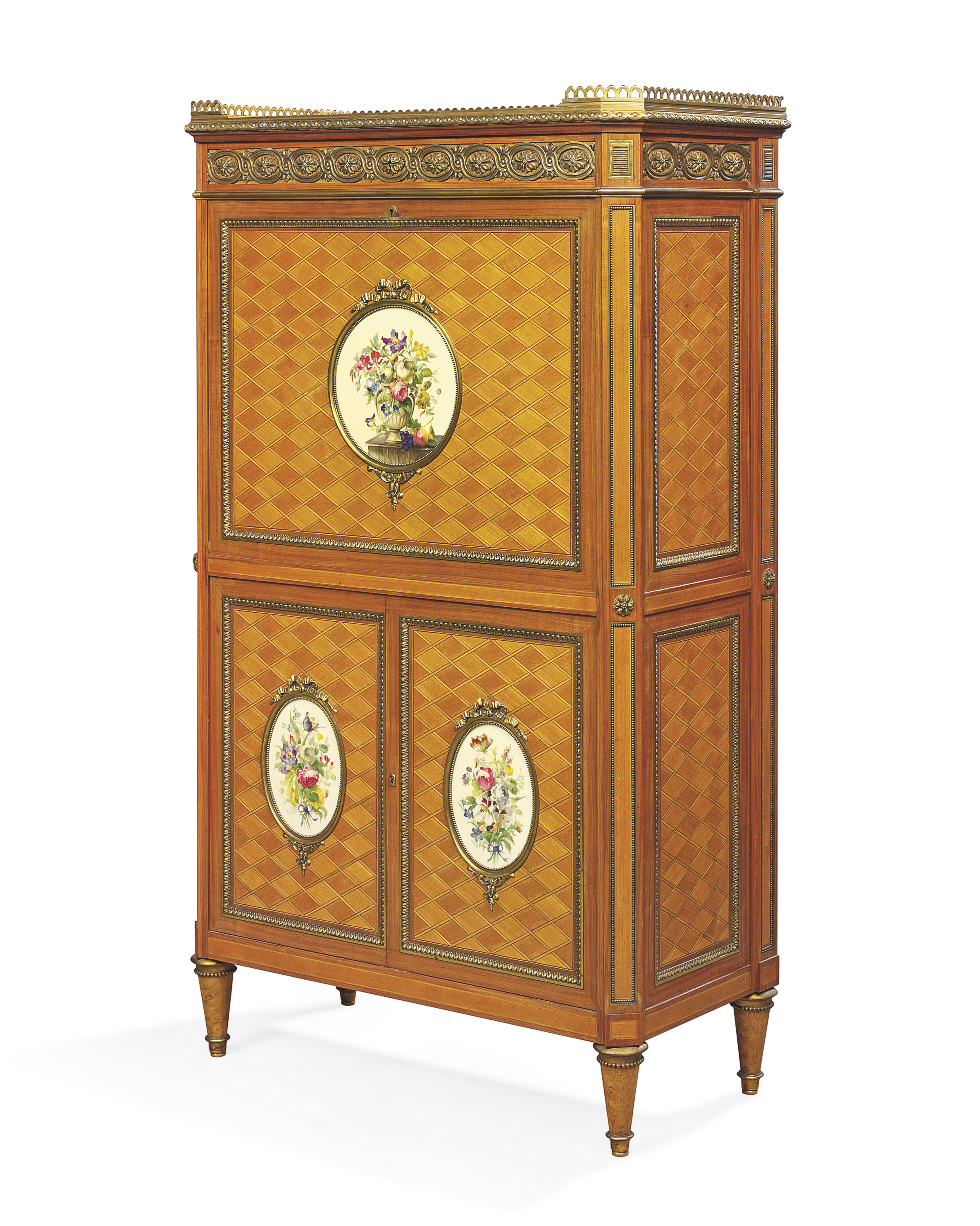 A FINE FRENCH ORMOLU AND SEVRES PORCELAIN-MOUNTED MAHOGANY AND SATINWOOD SECRETAIRE A ABBATANT
