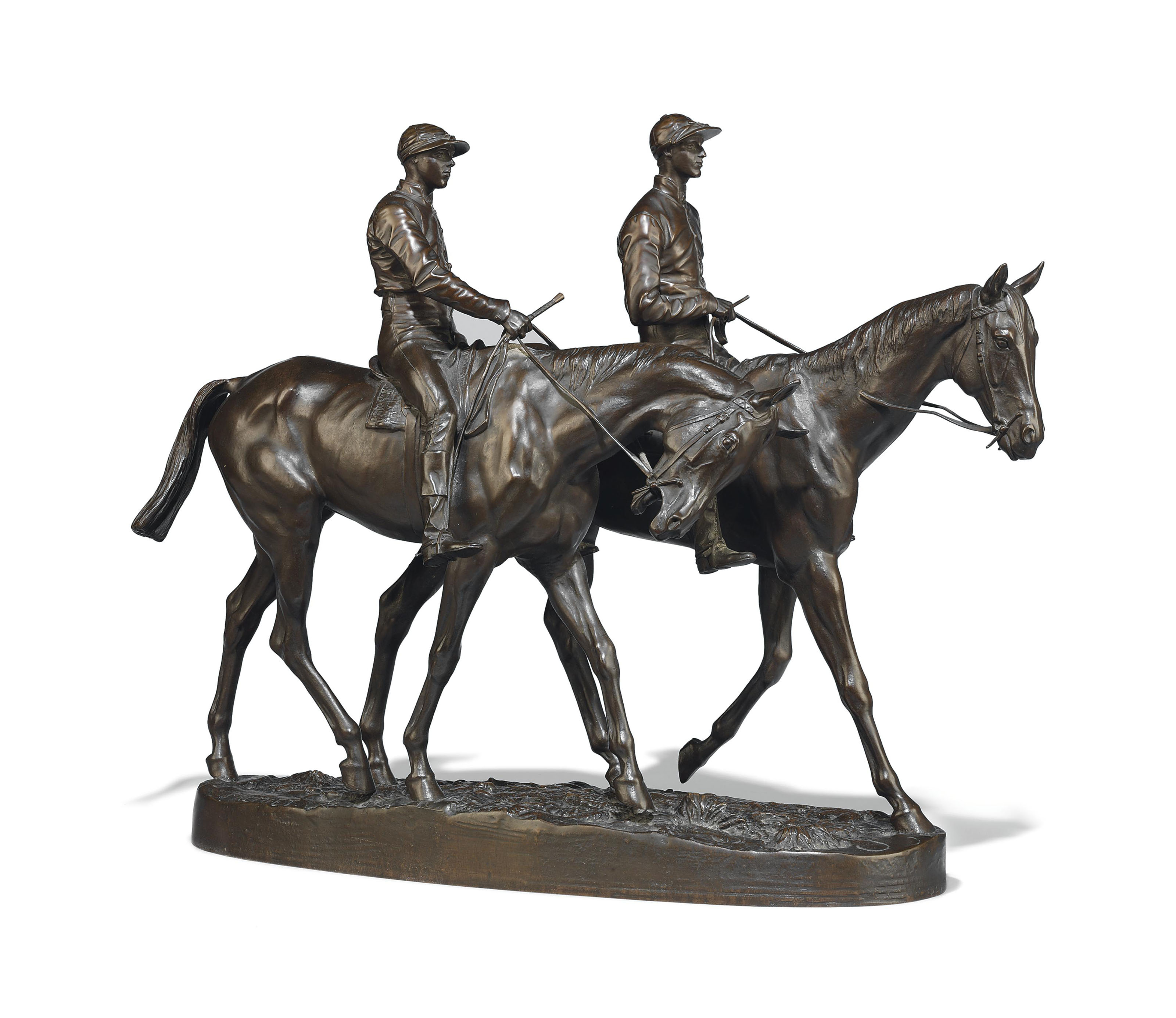 A FRENCH BRONZE EQUESTRIAN GROUP ENTITLED 'CHEVAUX DE COURSE ET JOCKEYS' (A PAIR OF MOUNTED JOCKEYS)