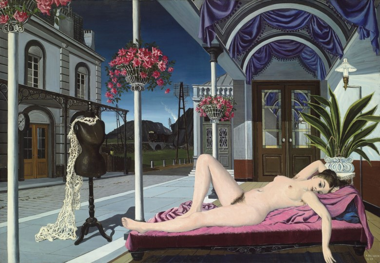 Paul Delvaux (1897-1994), Le nu et le mannequin (Le nu au mannequin), 1947. 61¼ x 88½ in (155 x 225 cm). Sold for £3,401,250 on 7 February 2012 at Christie's in London © Foundation Paul Delvaux, Sint-Idesbald - SABAM BelgiumDACS 2018