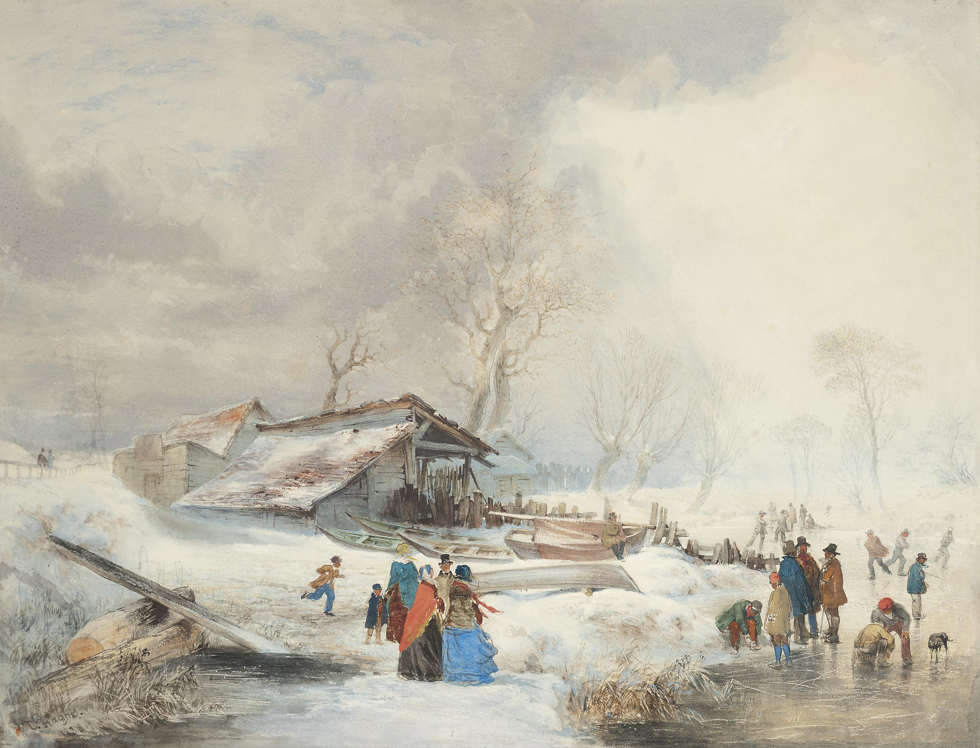 A winter landscape with figures skating on a river