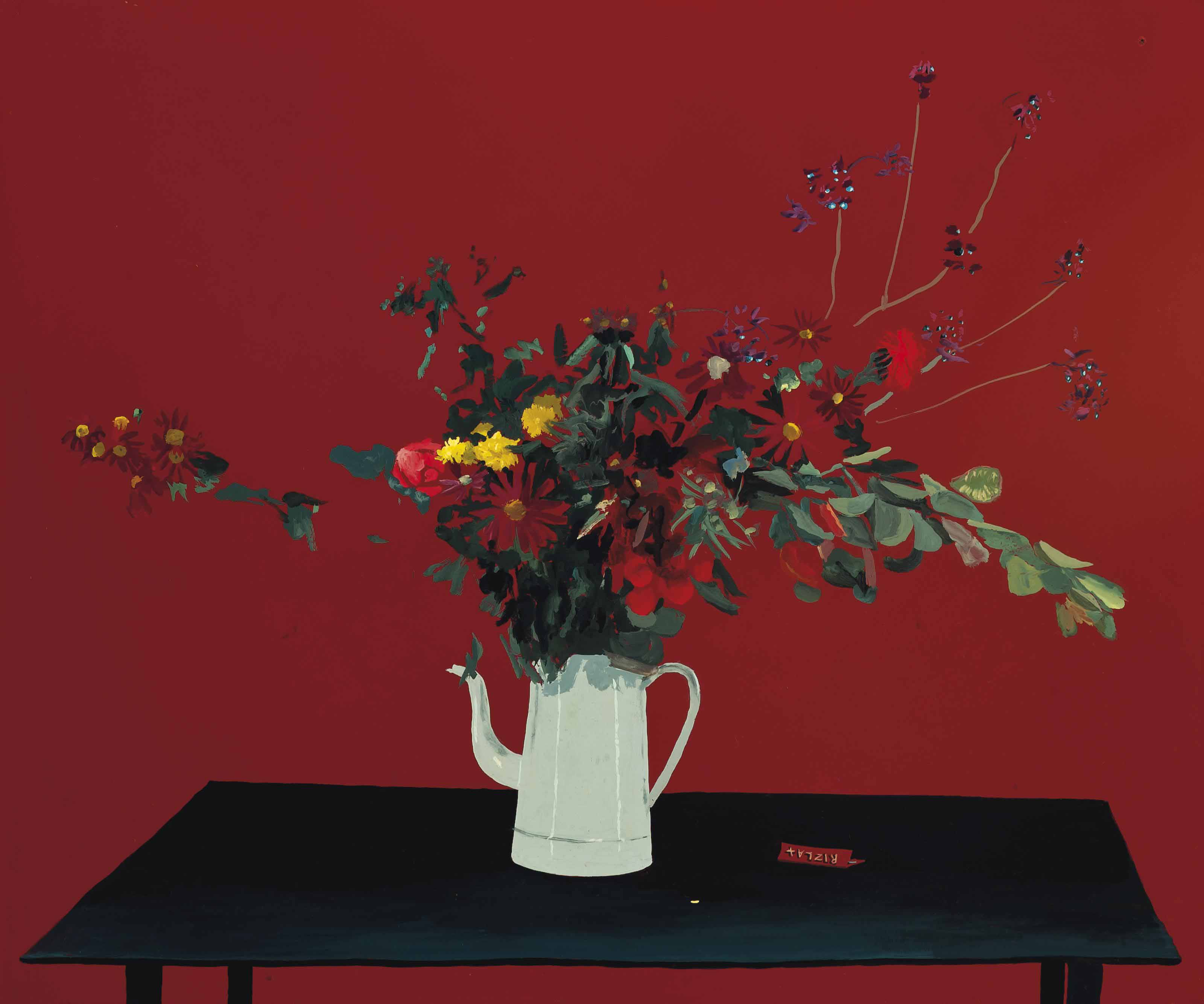 Still life with flowers in a jug, on a table top