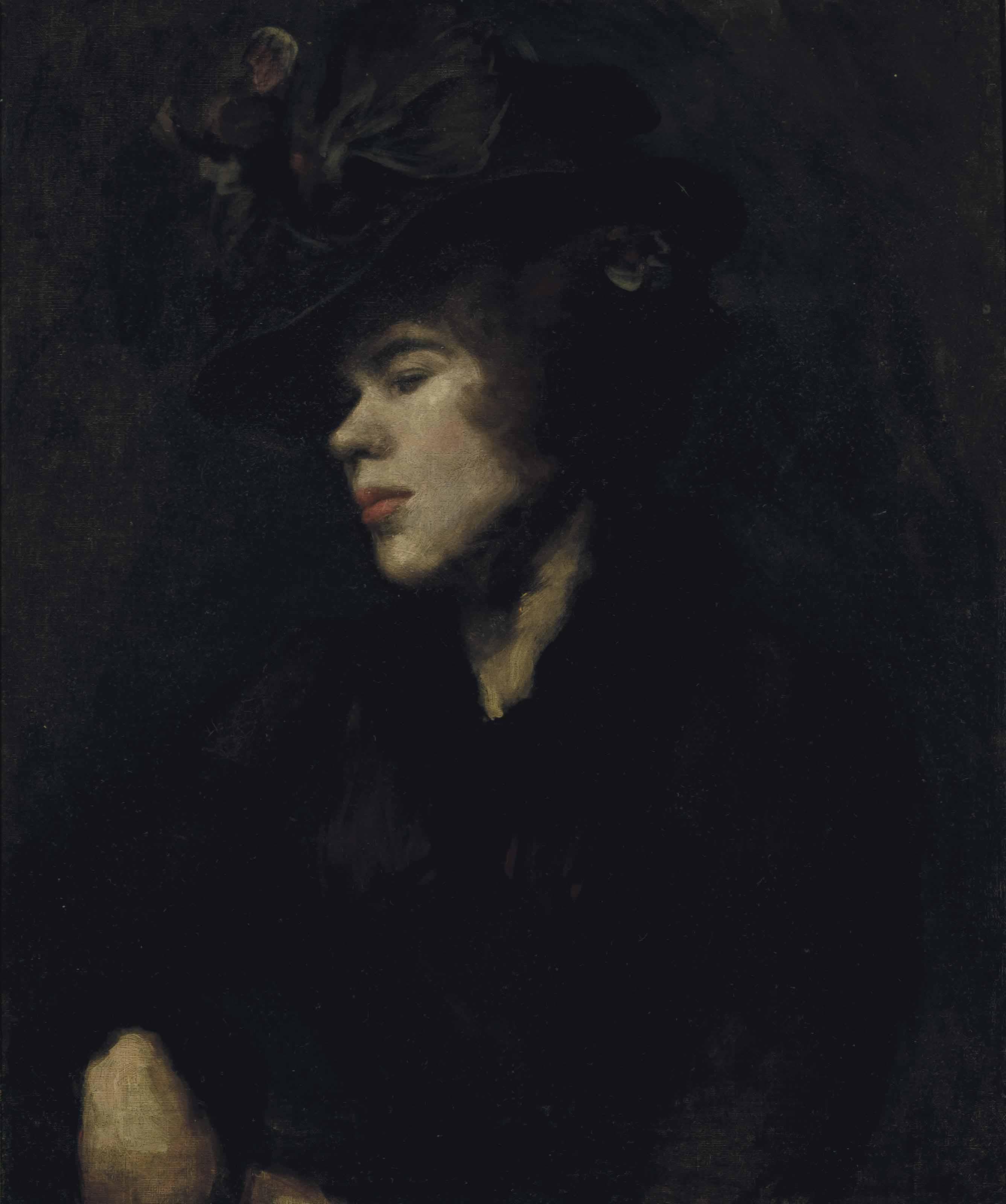 Portrait of Ida Nettleship (1877-1907), half-length, in a burgundy dress and hat