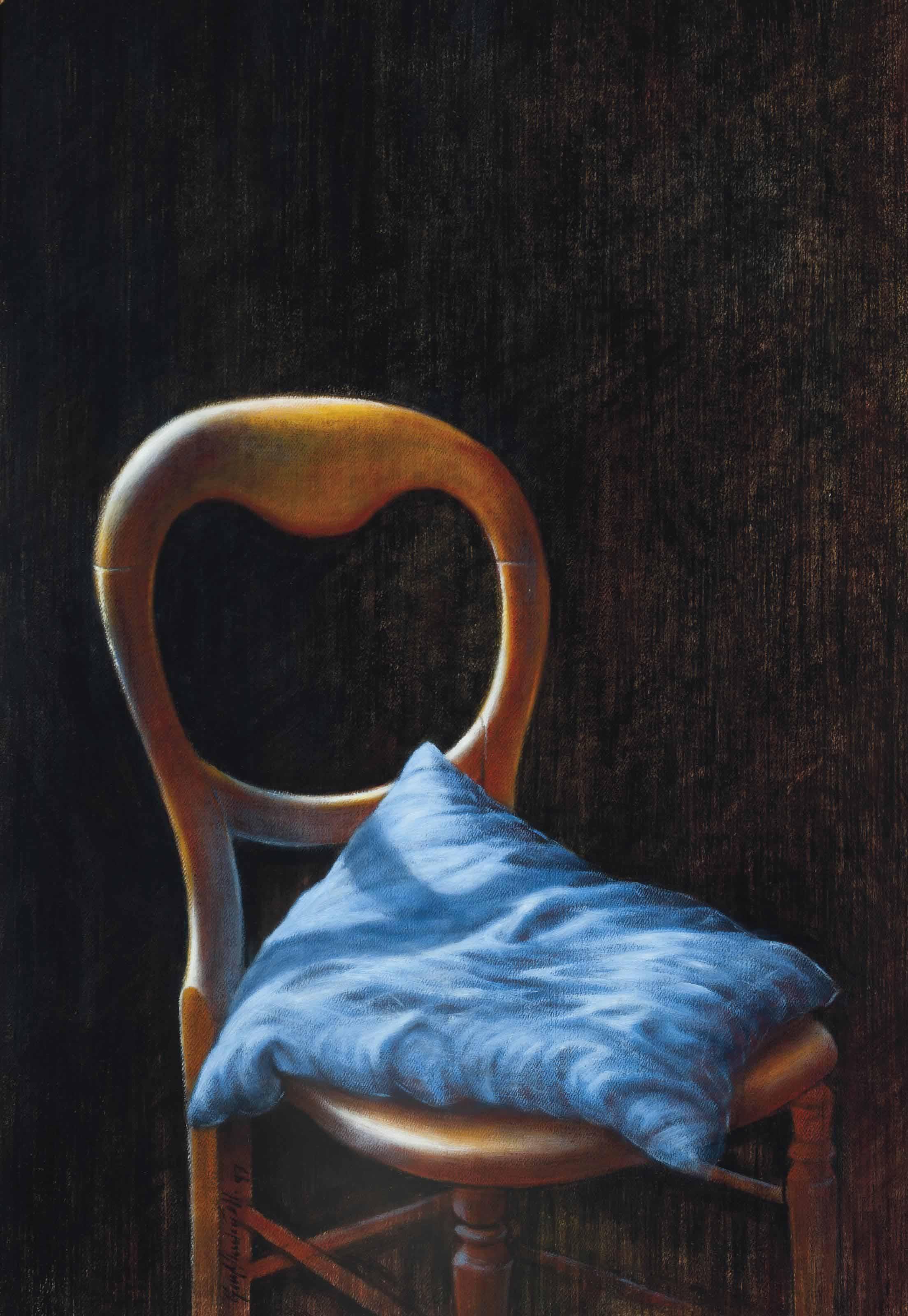Chair with a blue cushion