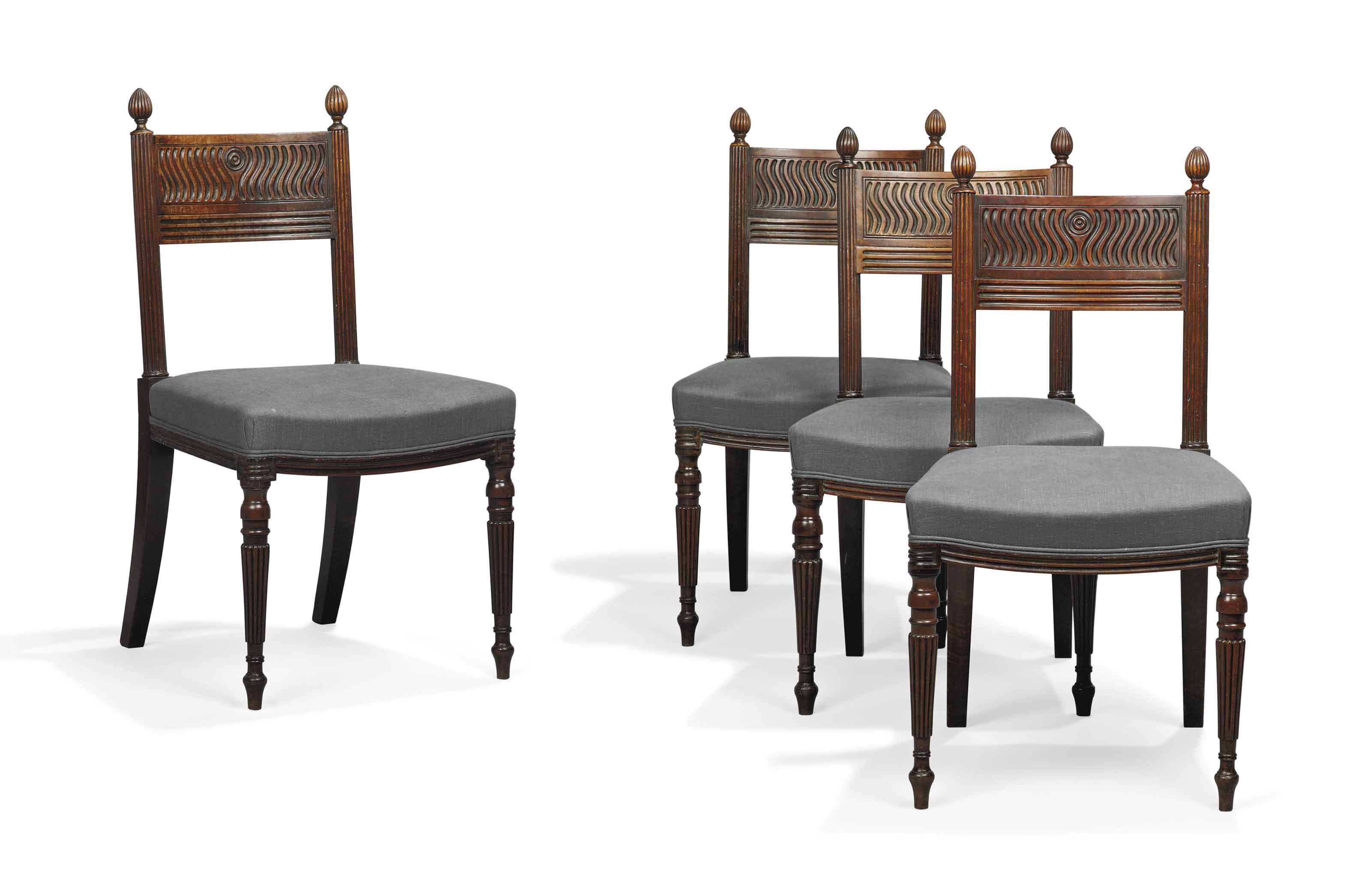 A SET OF FOUR REGENCY MAHOGANY SIDE CHAIRS