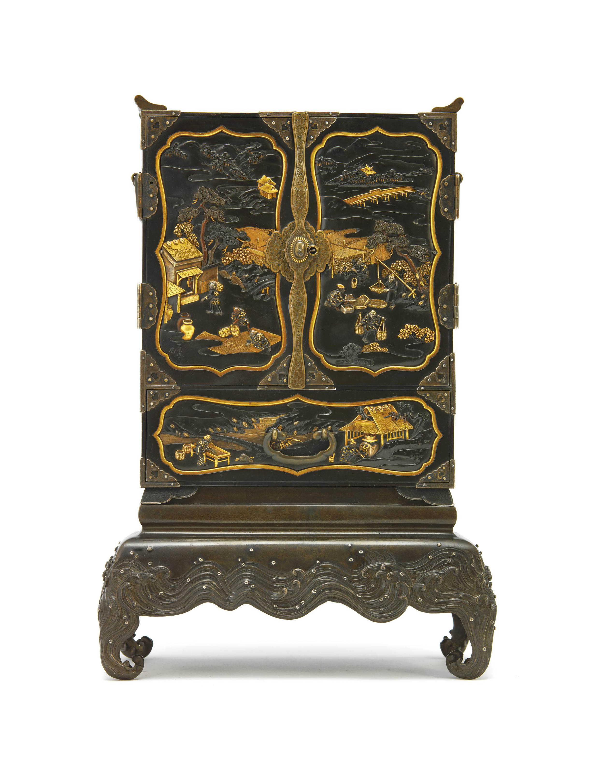 A Fine Metalwork Cabinet and A Stand