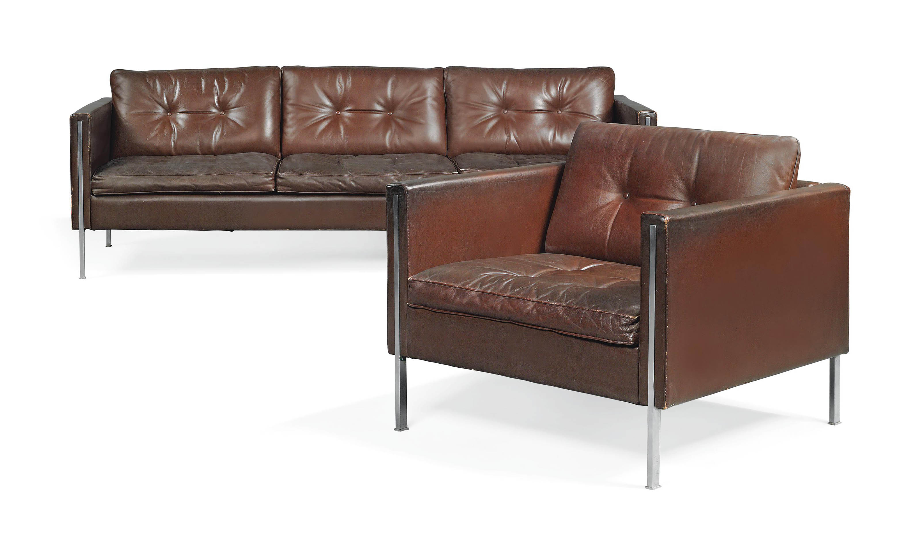A PIERRE PAULIN LEATHER AND STAINLESS STEEL '442' SOFA AND ARMCHAIR
