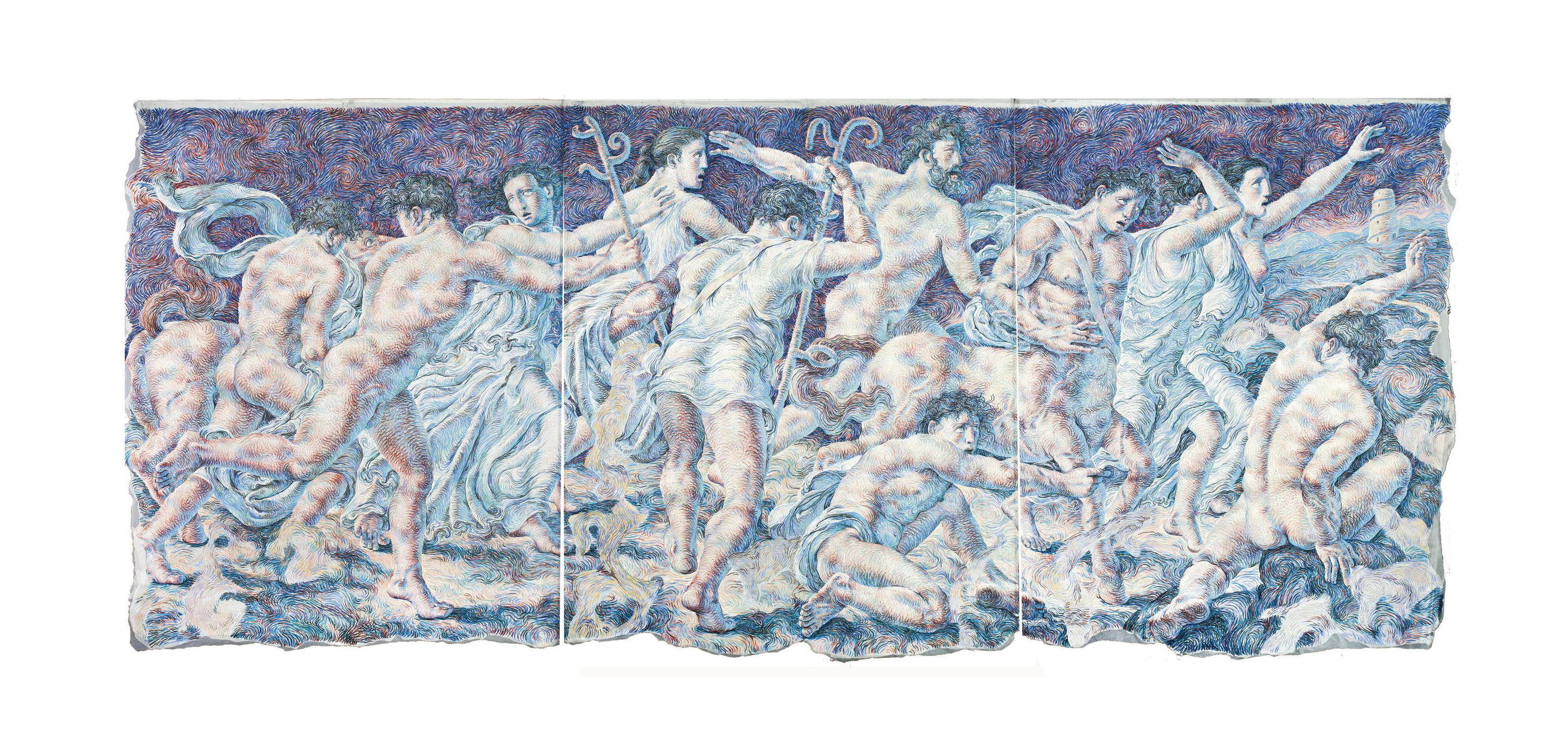 CLASSICAL FIGURES IN A LANDSCAPE, TRIPTYCH