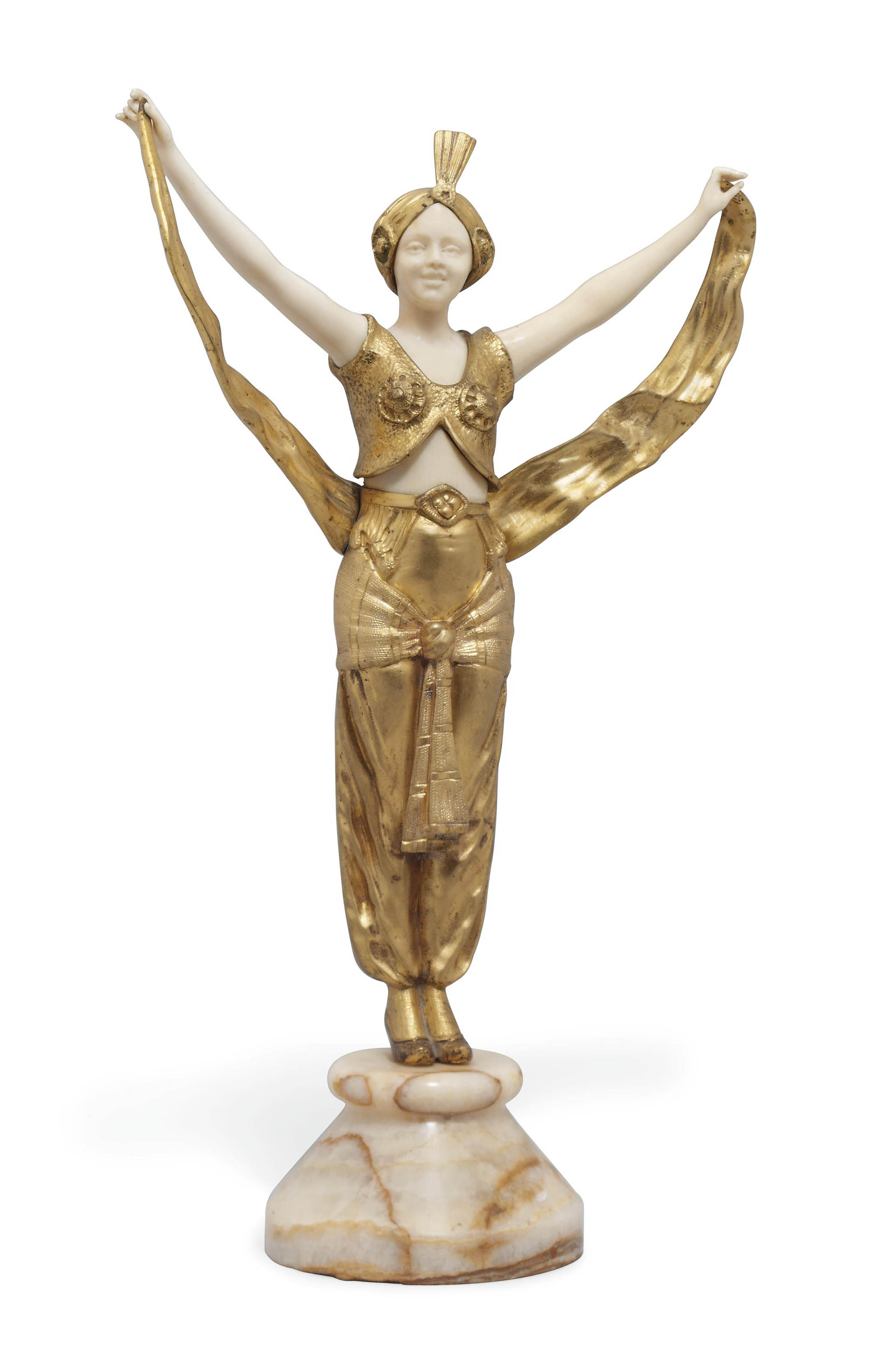 A FRENCH GILT-BRONZE AND IVORY MODEL OF A MOORISH DANCER