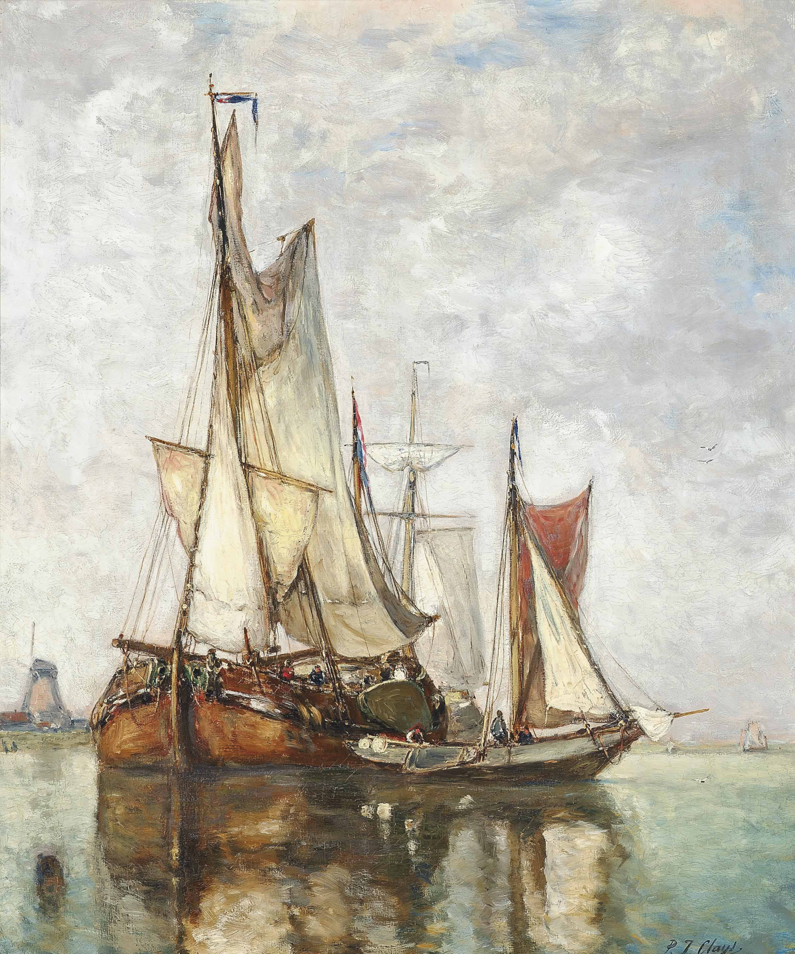 Barges moored before a windmill