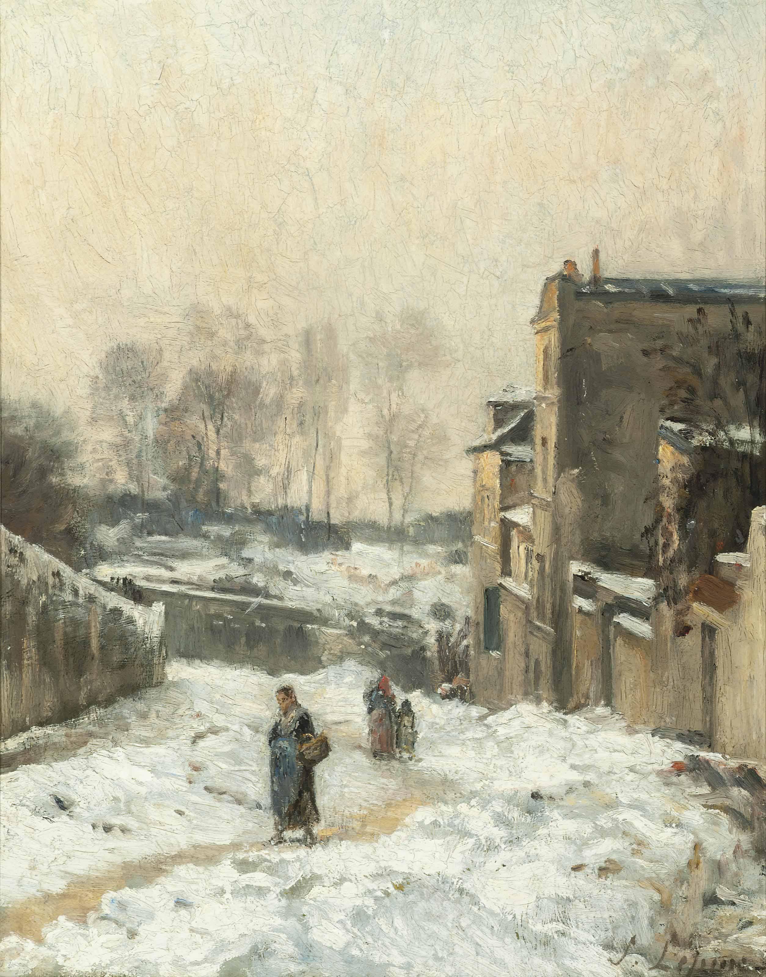 Figures in the snow, La Rue Cortot, Montmartre