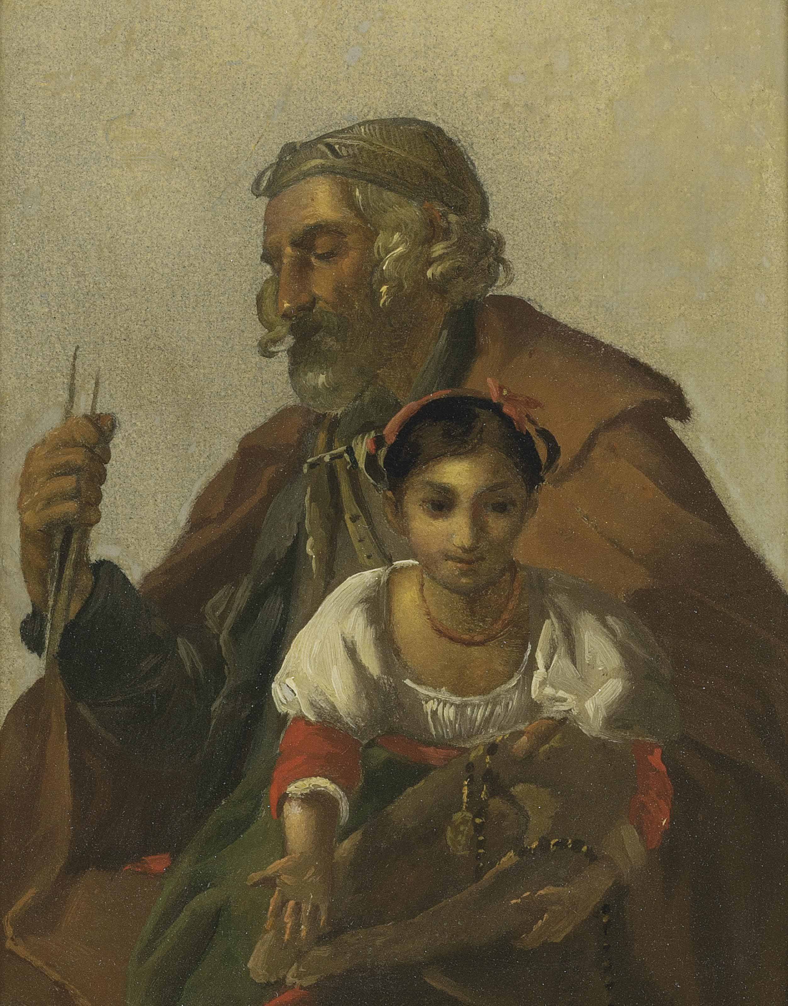 A shepherd watching over a child