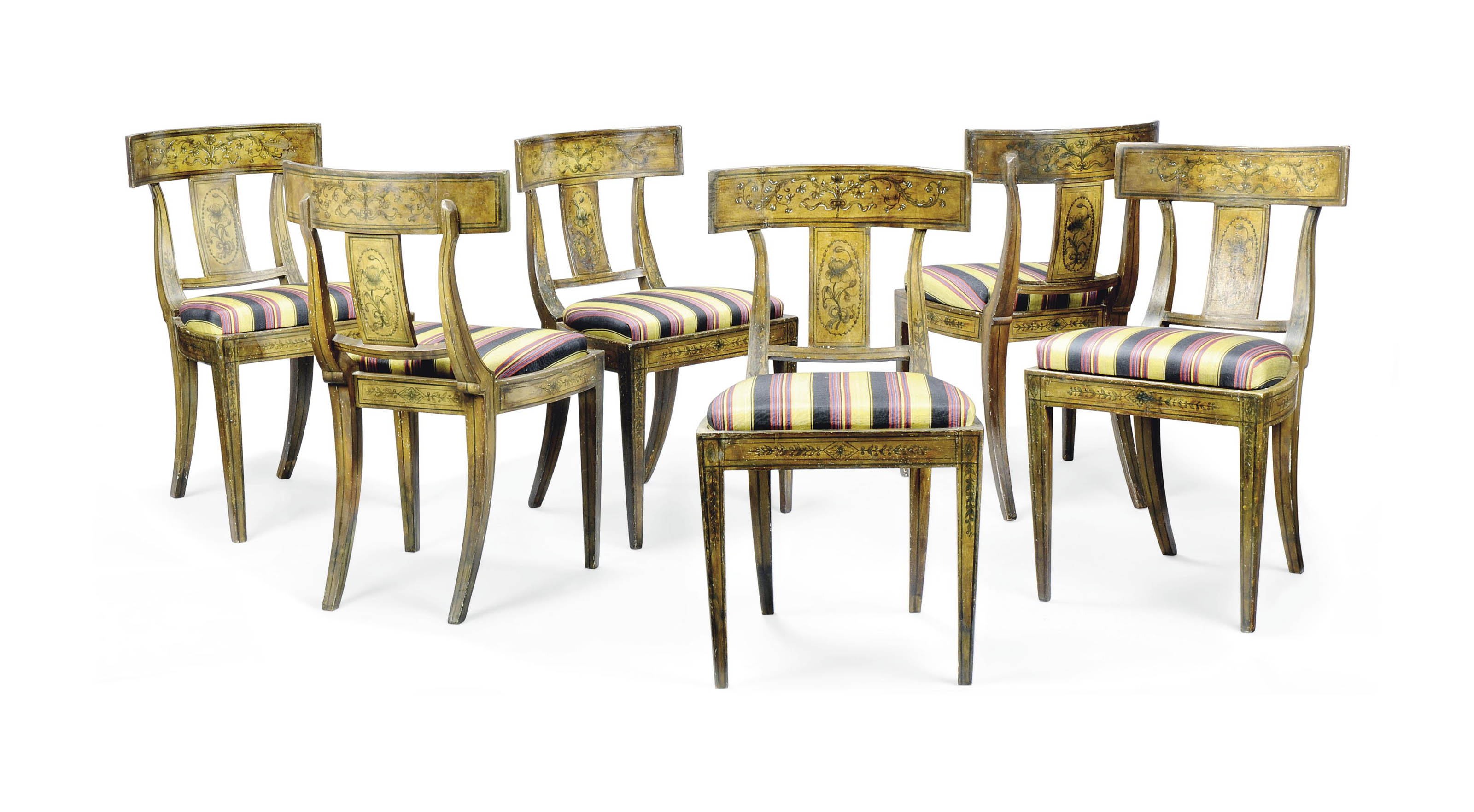 A SET OF SIX NORTH ITALIAN POLYCHROME-PAINTED DINING CHAIRS