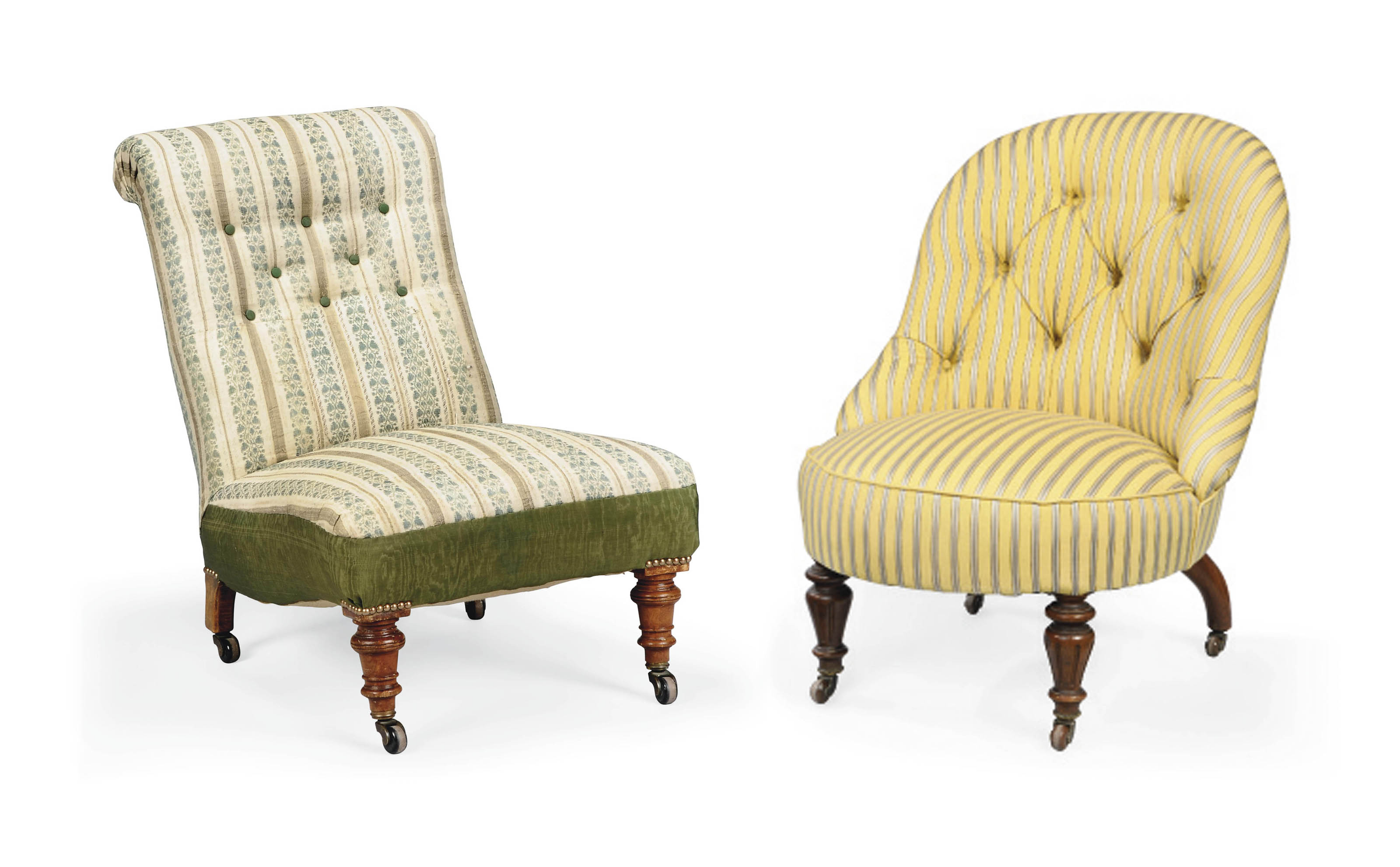 TWO VICTORIAN WALNUT LOW CHAIRS