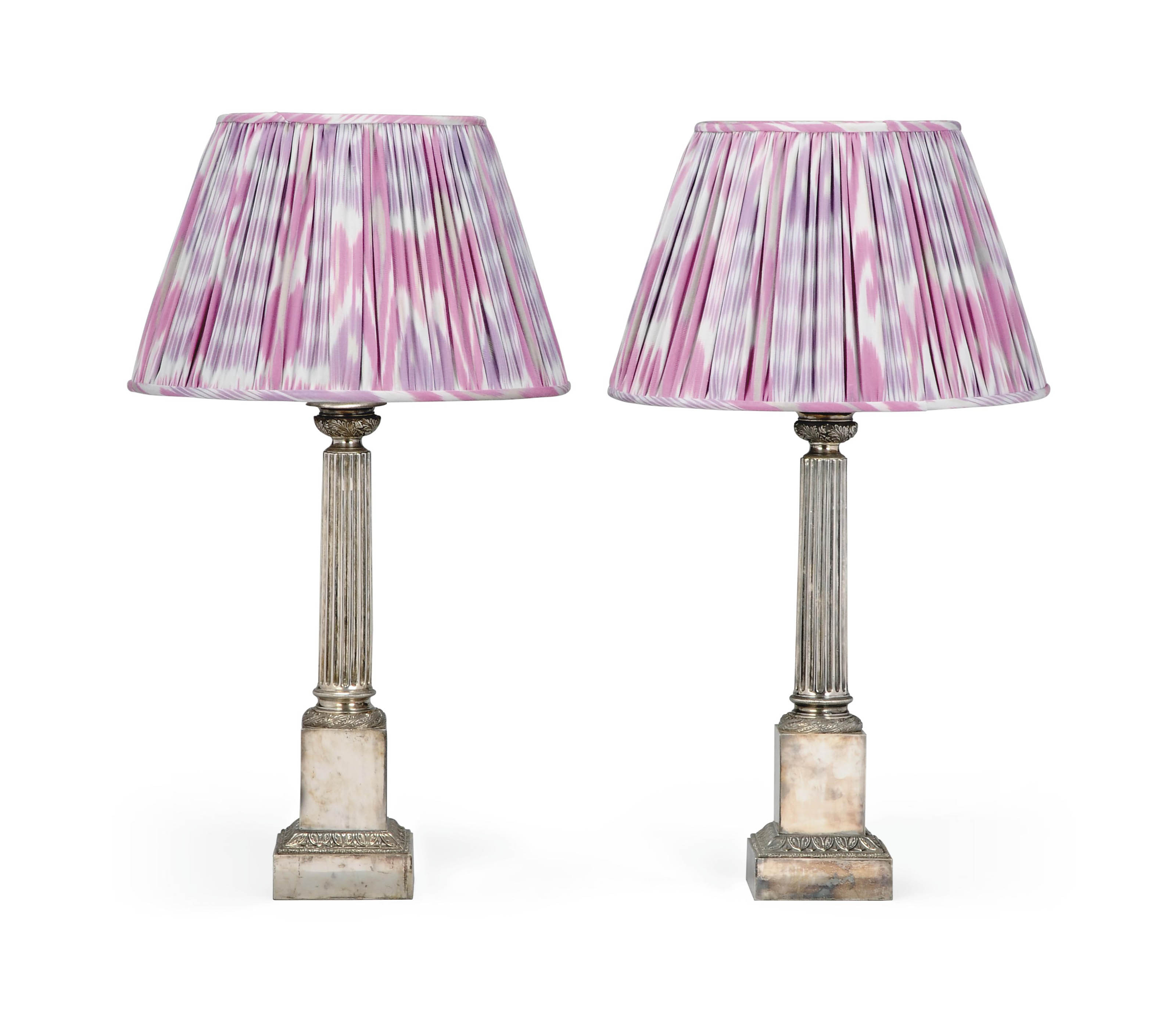 A PAIR OF MODERN SILVERED 'MARLBOROUGH' TABLE LAMPS