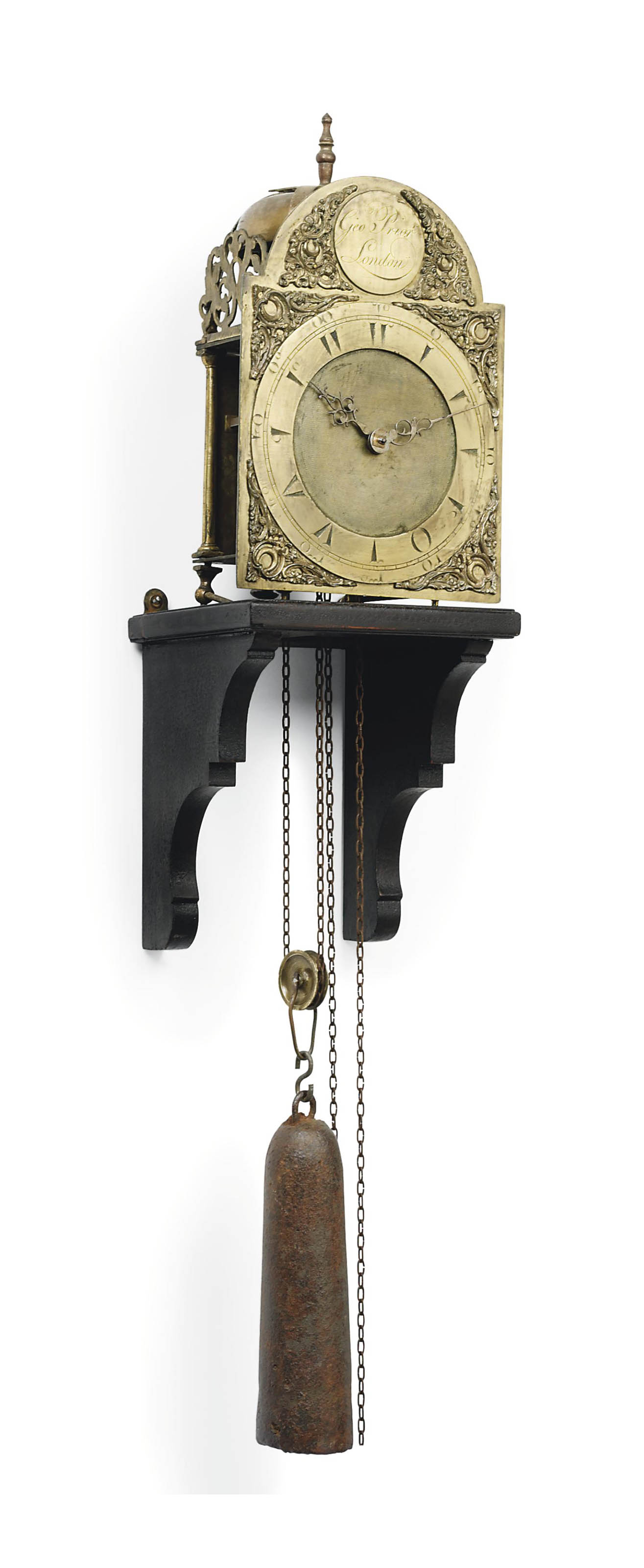 A GEORGE III BRASS STRIKING LANTERN CLOCK FOR THE TURKISH MARKET