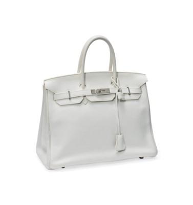 A WHITE LEATHER 'BIRKIN' BAG