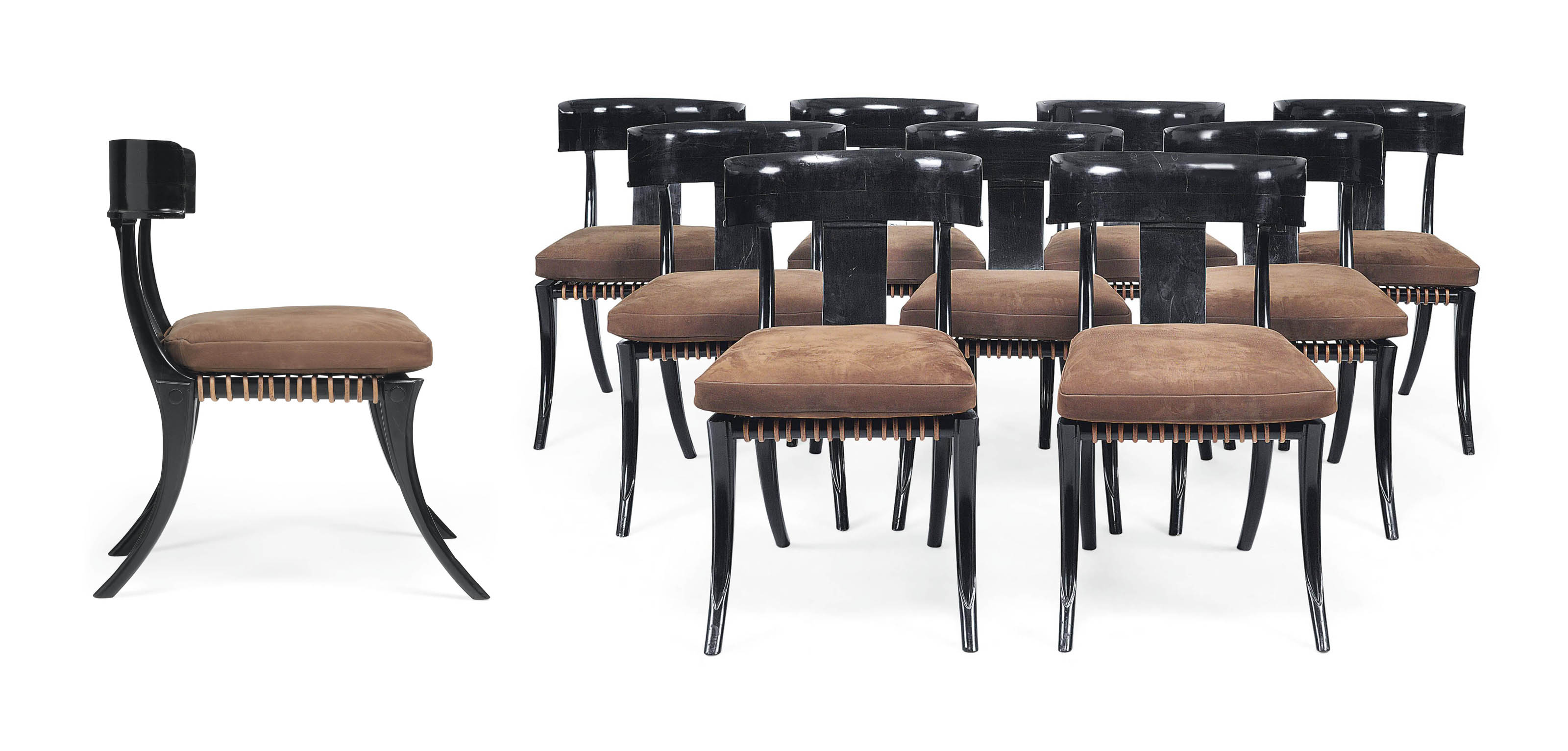 A SET OF TWELVE EBONY 'KLISMOS' DINING CHAIRS