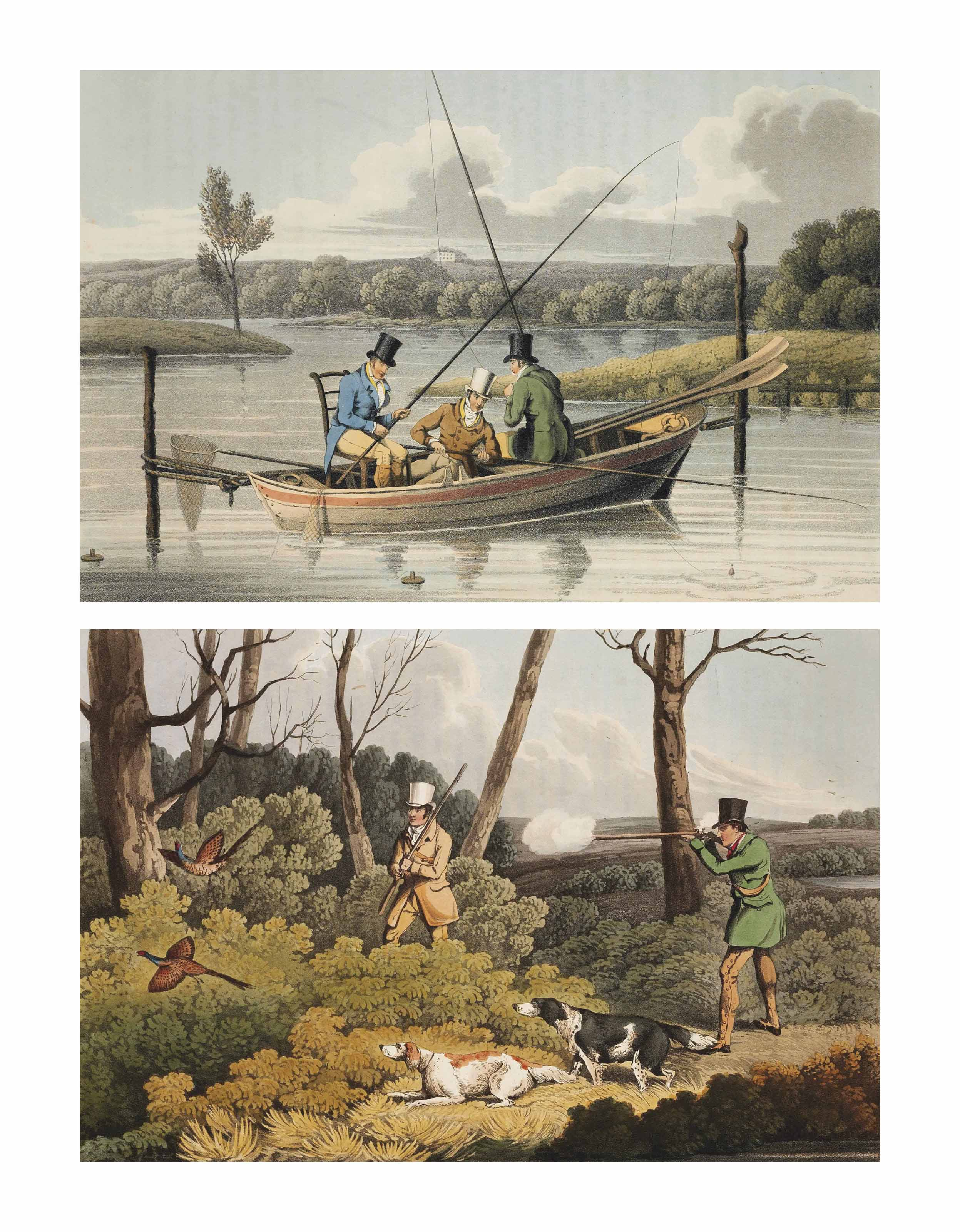 ALKEN, Henry. The National Sports of Great Britain. London: Thomas McLean, 1820-1821. 2° (475 x 315mm). Hand-coloured aquatint frontispiece and 50 hand-coloured aquatint plates by J. Clark after Alken, parallel text in English and French. (Light creasemark to frontispiece and title, light dust-soiling and occasional spotting of plate margins, a few isolated spots and some faint offsetting to images.) Contemporary blue straight-grained morocco, sides panelled in gilt and blind, gilt spine compartments, two decorated with a stag, the rest with title and arabesques, gilt edges (joints neatly restored, covers lightly scuffed). Provenance: Fitz Eugene Dixon (bookplate; his sale, Anderson Galleries, New York, 6 January 1937, lot 26, $1,825 [£365]) -- Prince Henry, Duke of Gloucester (bookplate; his sale, Christie's London, 26-27 January 2006, lot 611).