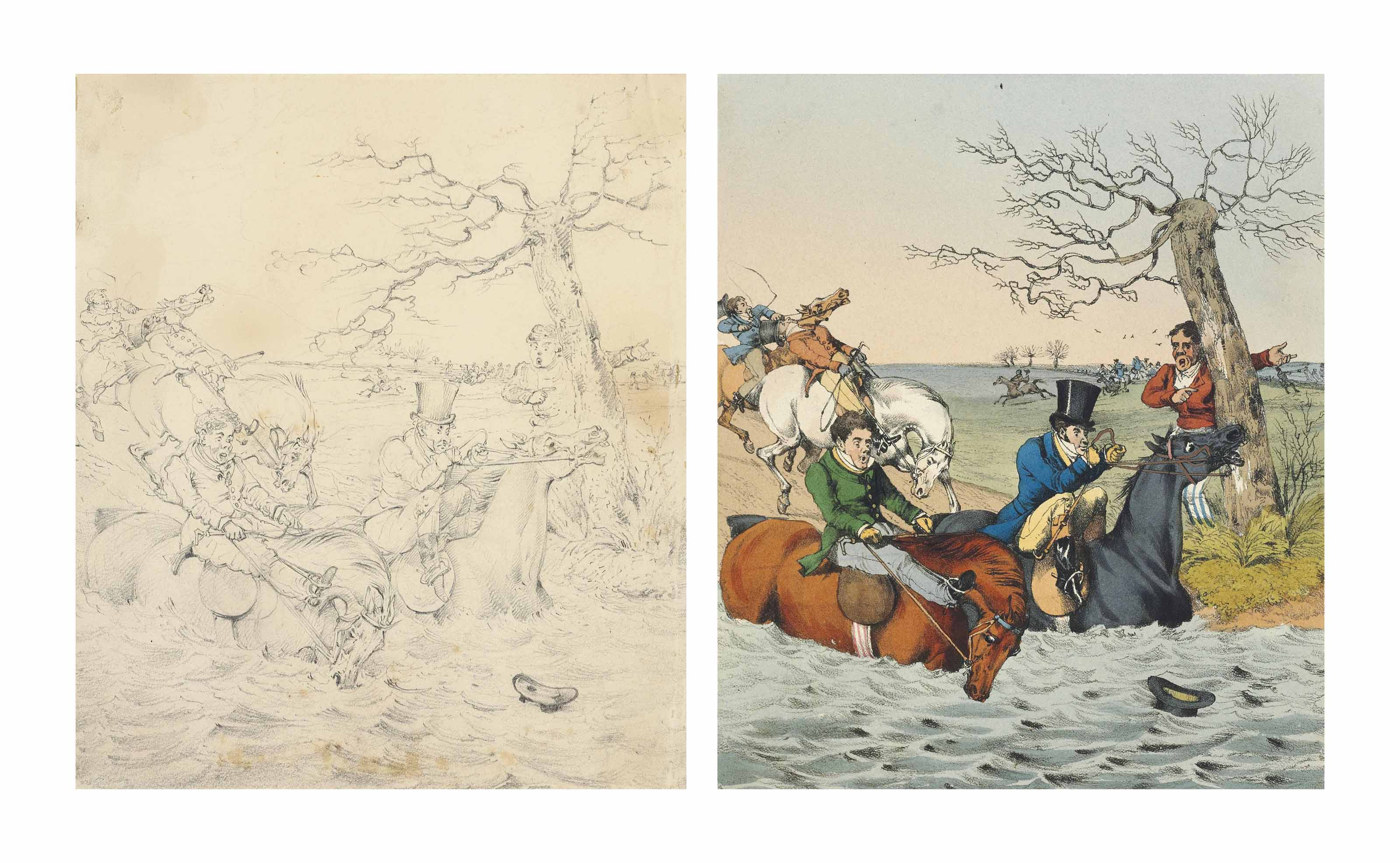 ALKEN, Henry. Ideas, Accidental and Incidental to Hunting and Other Sports; caught in Leicestershire. London: Thomas M'Lean, plates dated 1826-1830 [watermarked 1829]. 2° (252 x 352mm). Letterpress title and 42 hand-coloured etched plates, interleaved and EXTRA-ILLUSTRATED with three original pencil drawings by Alken (214 x181mm. & 160 x 235mm) for the plates entitled 'Thrown ... Off', 'Fording the Lea', 'I have no Idea what could induce me to follow you', each pasted onto a blank leaf, unsigned. (Slight browning and dust-soiling to drawings, light soiling and spotting of plate margins.) Contemporary half roan over cloth with gilt lettering-piece on upper cover, gilt spine compartments, gilt edges (extremities rubbed, covers scuffed, some loss of cloth on upper cover). Provenance: Stansfeld Manor House (bookplate) -- Prince Henry, Duke of Gloucester (bookplate; his sale, Christie's London, 26-27 January 2006, lot 619).