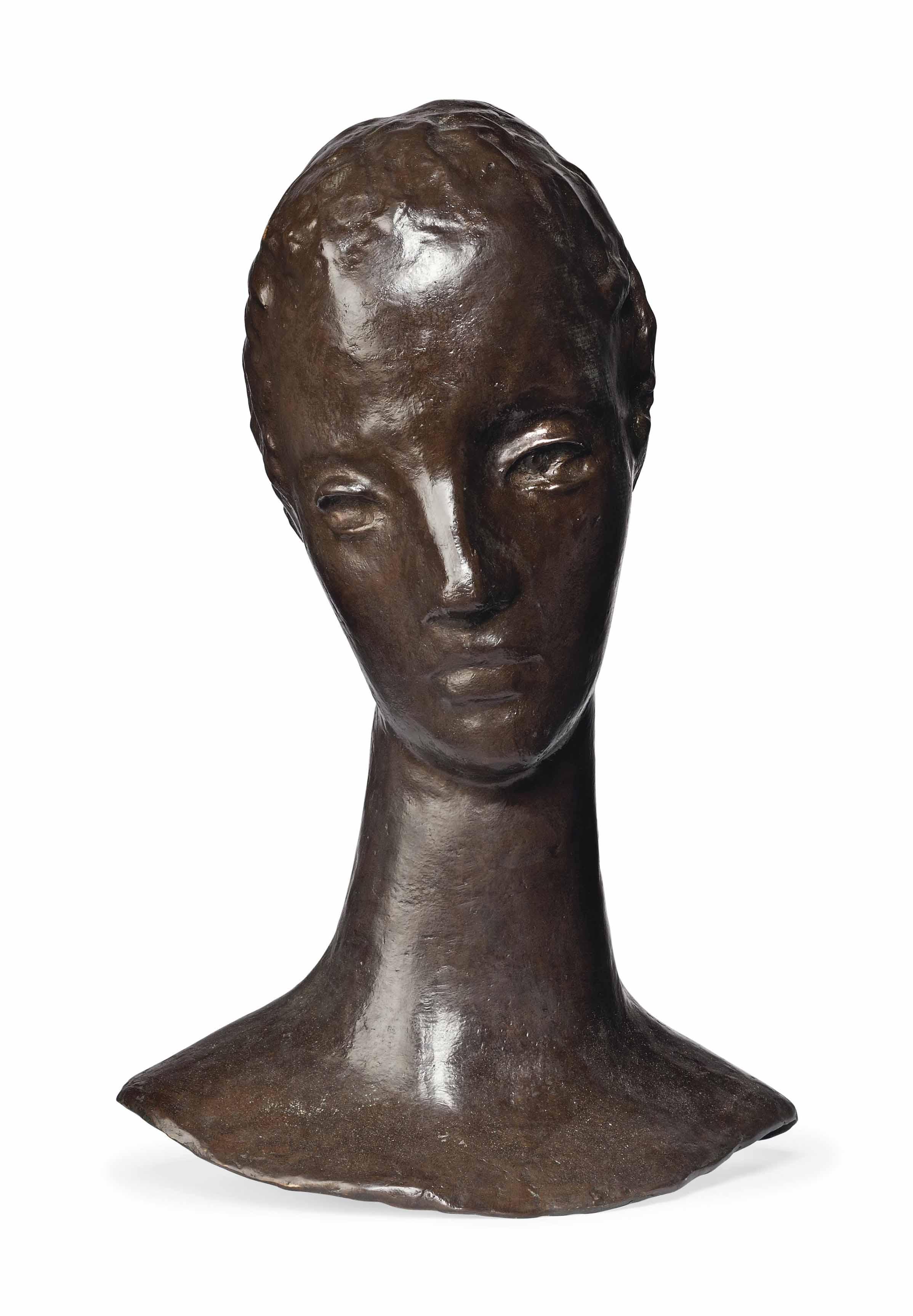 Mädchenkopf auf schlankem Hals (Kopf der Sinnenden)