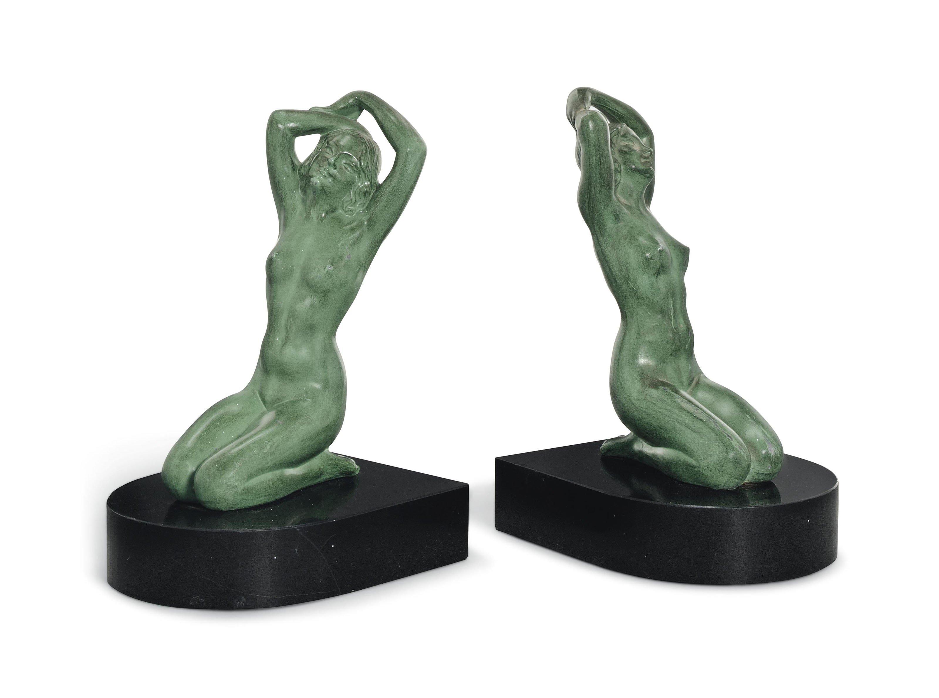 A PAIR OF MAX LE VERRIER COLD-PAINTED SPELTER FIGURAL BOOKENDS