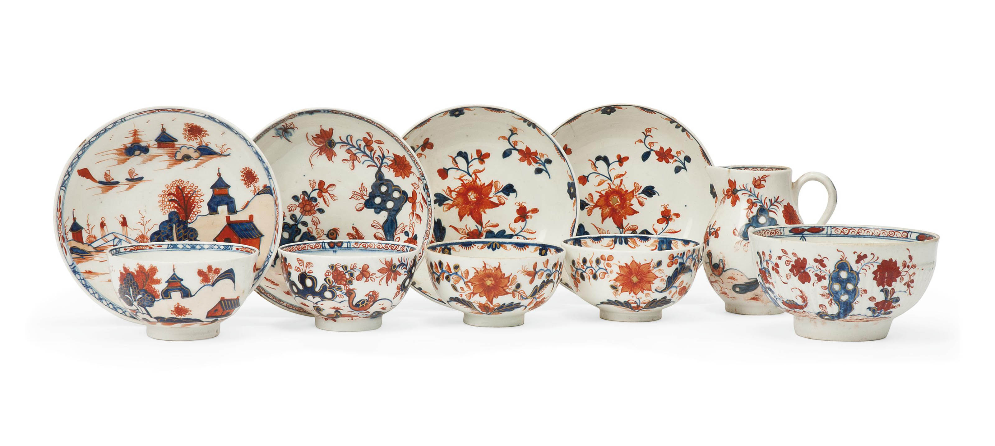 VARIOUS LOWESTOFT IMARI PATTERN WARES