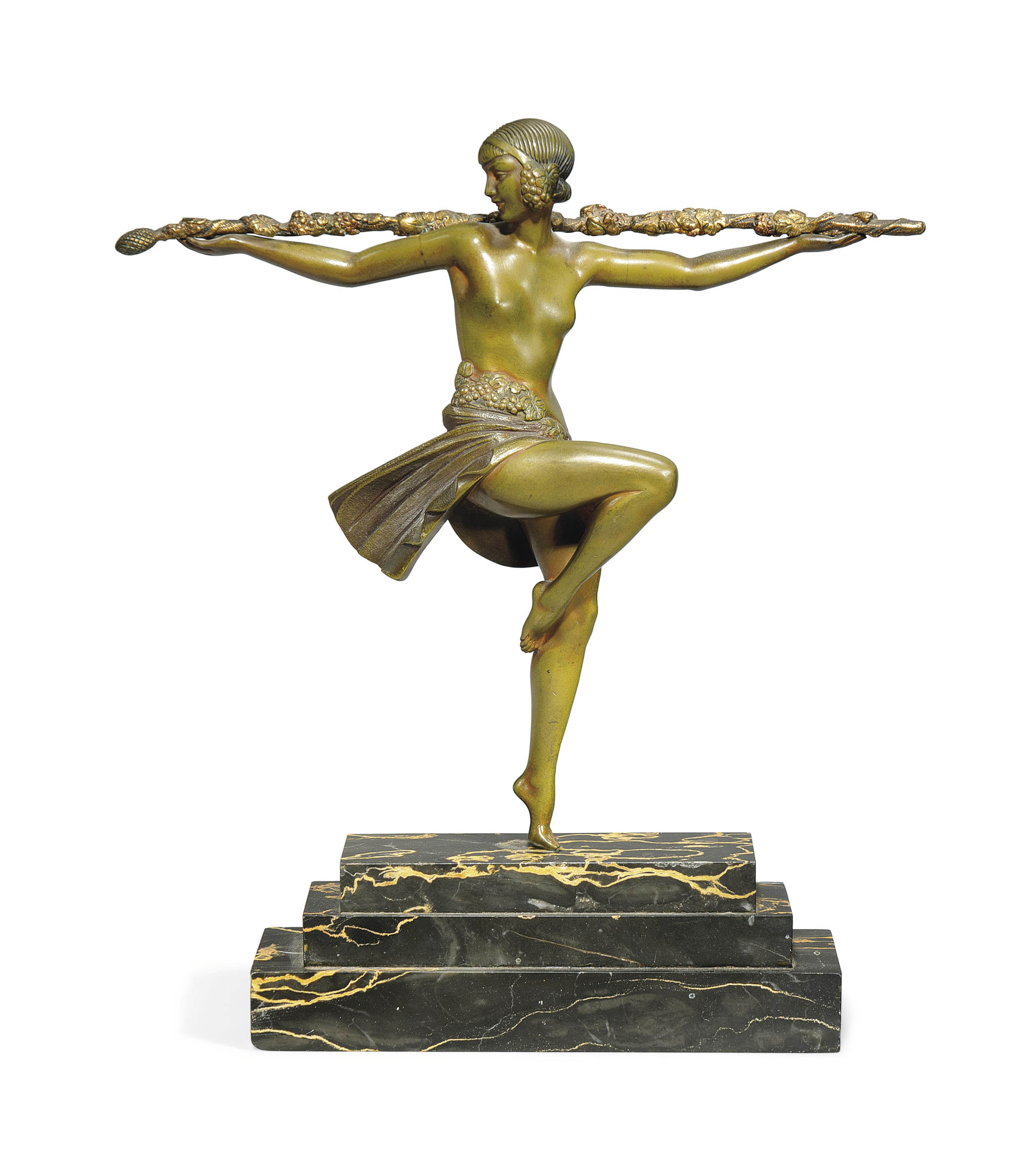 'DANCER WITH THYRSUS', A PIERRE LE FAGUAYS COLD-PAINTED AND GILT- BRONZE FIGURE