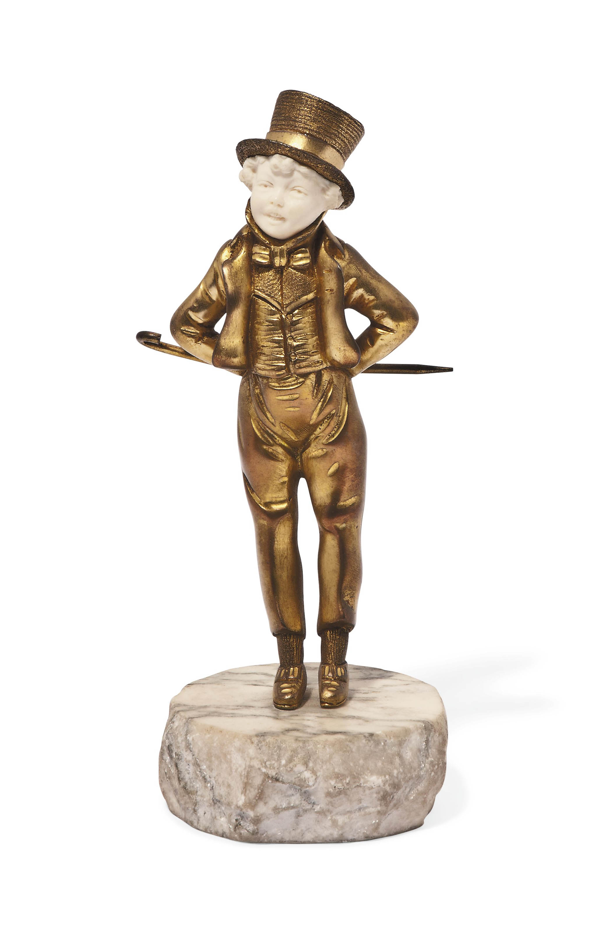 'THE YOUNG GENTLEMAN' A GEORGE OMERTH GILT-BRONZE AND IVORY FIGURE