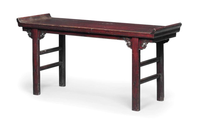 A CHINESE STAINED HARDWOOD ALT