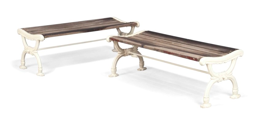 A PAIR OF CAST-IRON BENCHES