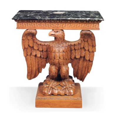 A CARVED PITCH PINE CONSOLE TA