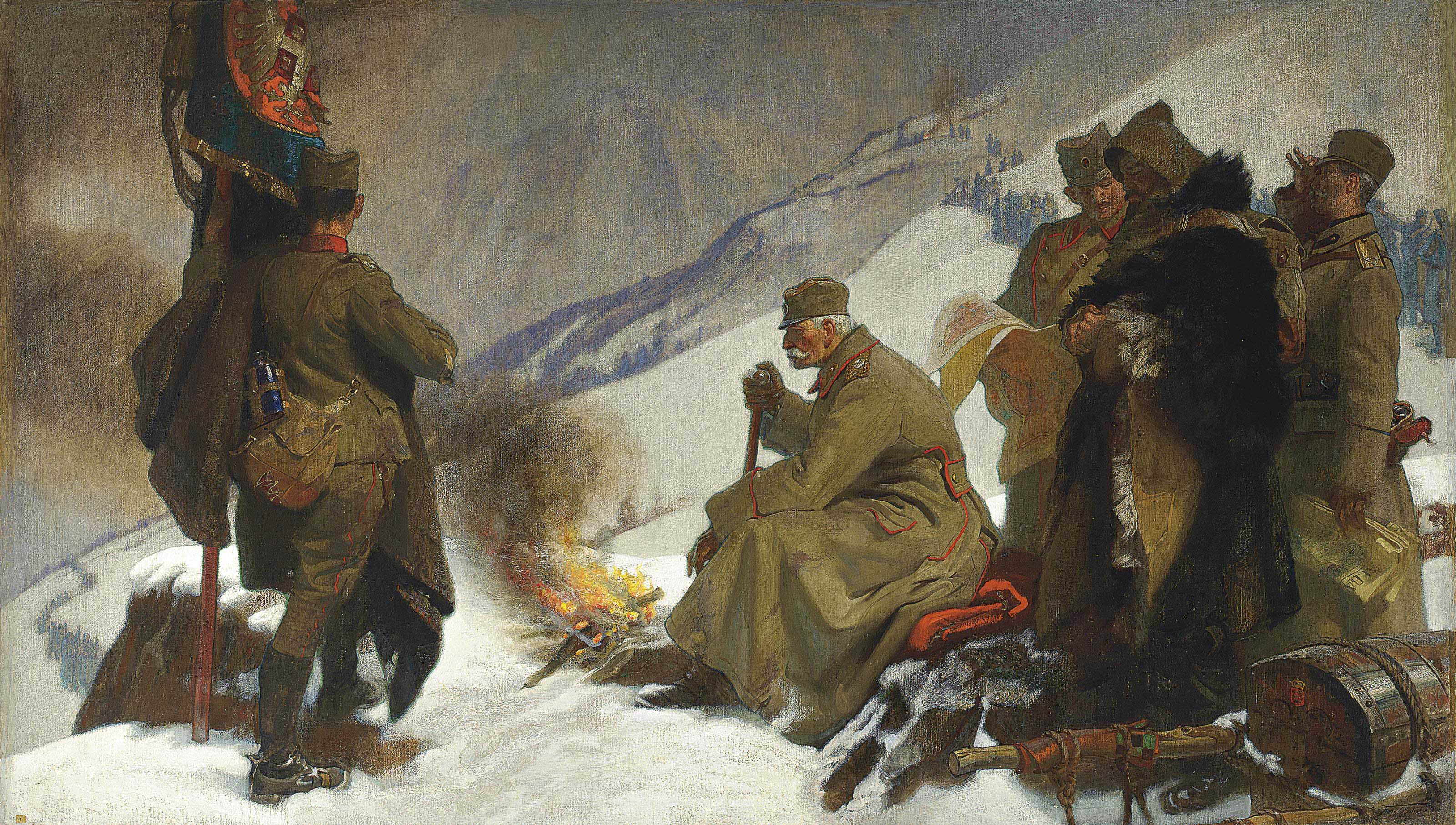 King Peter of Serbia retreating across the Albanian Mountains, 1915