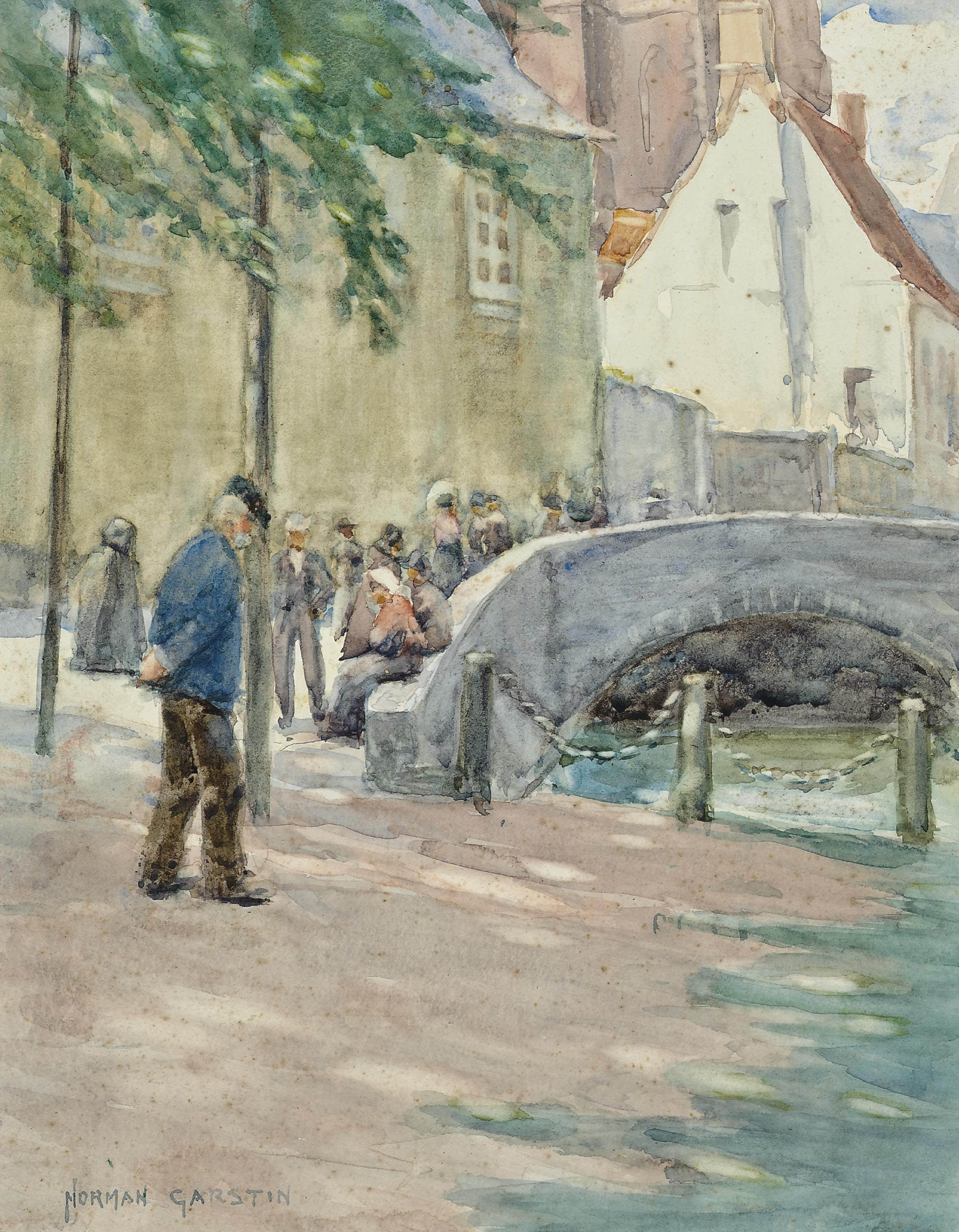 Figures by a bridge, Brittany