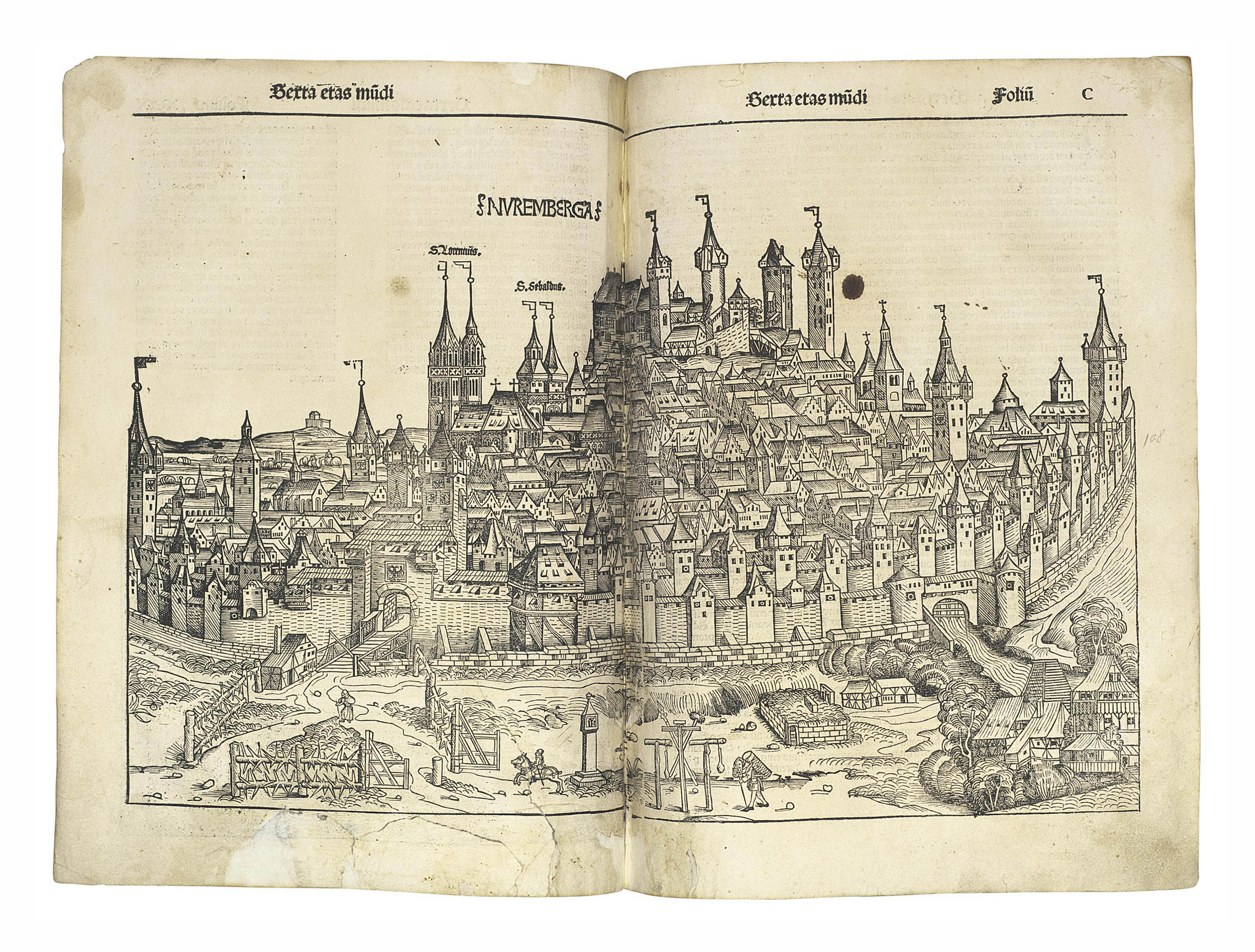 SCHEDEL, Hartmann (1440-1514). Liber chronicarum. Nuremberg: Anton Koberger, 12 July 1493. Imperial 2° (451 x 308mm). 300 leaves (of 328; missing leaves include title and world map); with 2 (of 3) leaves blank but for printed headline. Fo. 123 misbound after 127. Profusely illustrated with woodcuts by Wolgemut and Pleydenwurff and their workshop, including the young Albrecht Dürer. (Some headlines shaved, occasional light staining, small wormholes, repaired tears touching text in several leaves, a few index leaves defective, some leaves probably supplied.) Modern vellum. Provenance: Reformed Franciscans of Gallipoli (17th-century inscription on opening woodcut), a few other inscriptions.