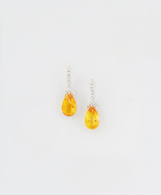 A pair of citrine and diamond