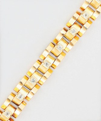 A diamond-set gold bracelet
