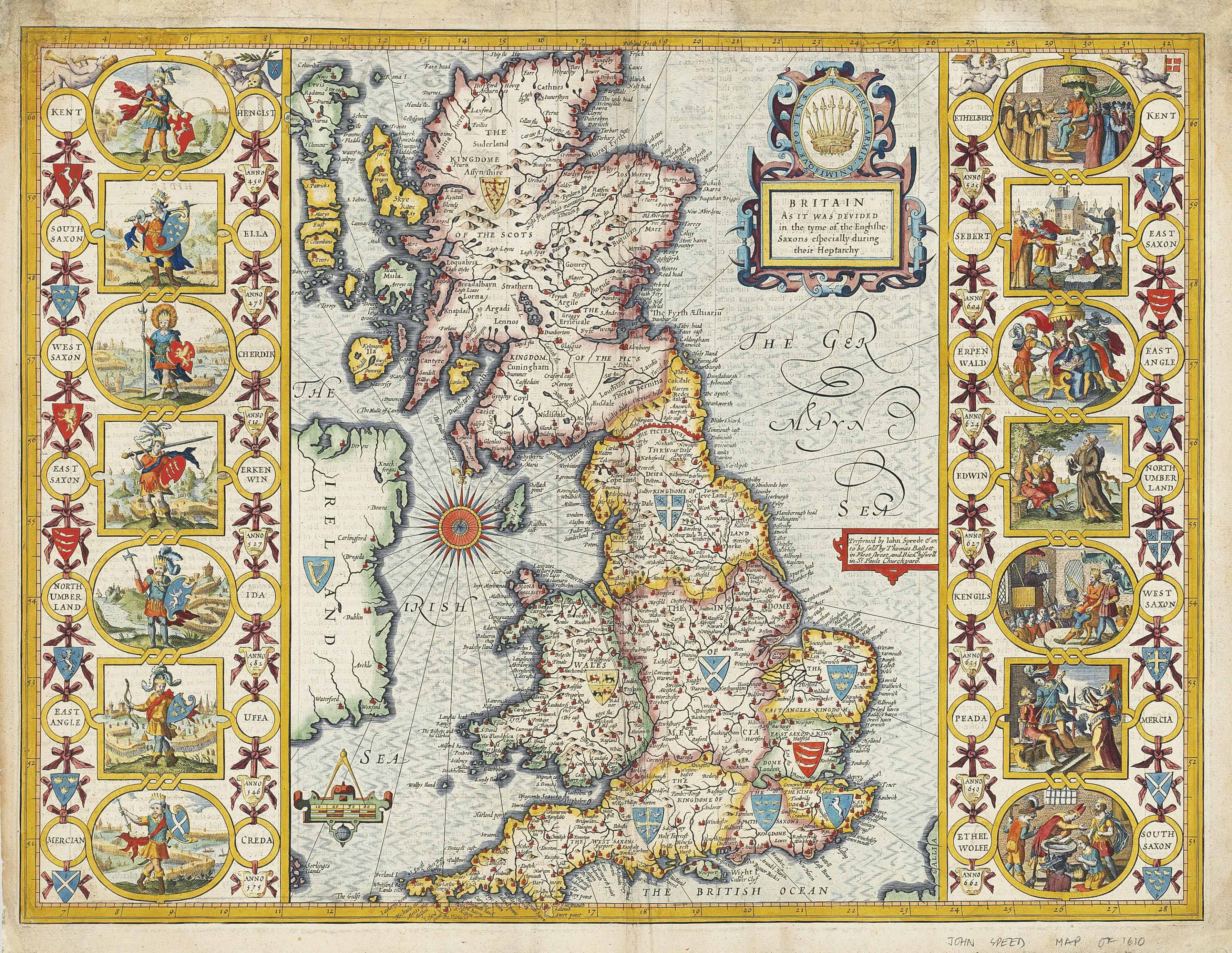 SPEED, John (1552-1629) Britain as it was devided in the tyme of the Englishe-Saxons especially during their Heptarchy. London: Thomas Bassett, [1676]. Double-page hand-coloured engraved map (margins restored and rather soiled), 433 x 539mm.