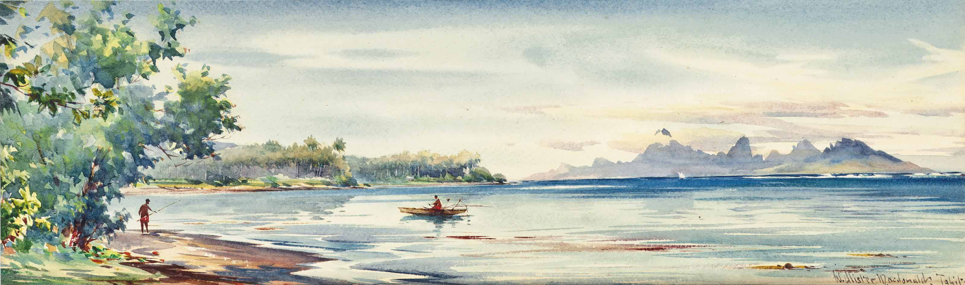 Fisherman in a Bay, Tahiti