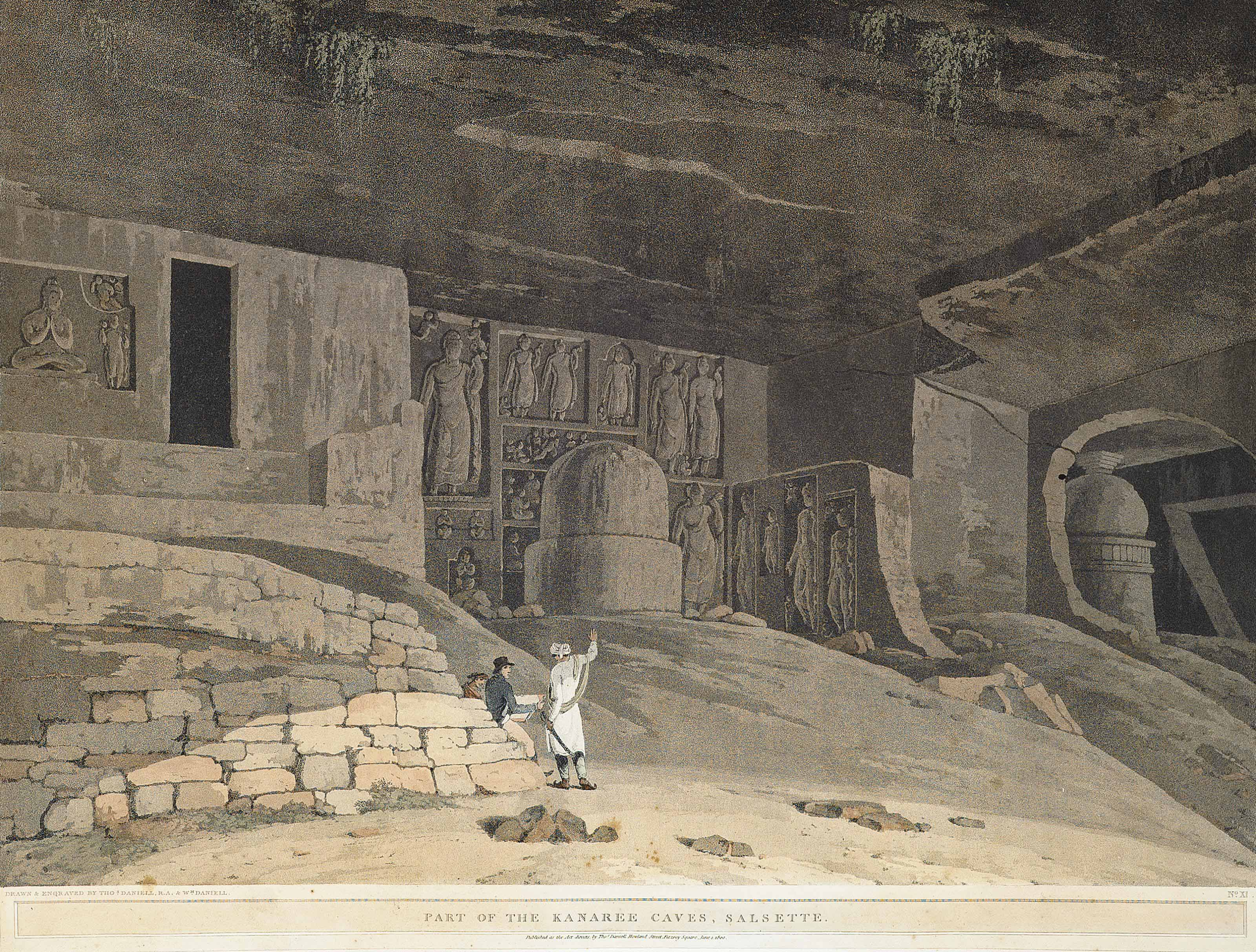 The Entrance to the Elephanta Cave; and Part of the Kanaree Caves, Salsette (Abbey Travel 420, nos. 58, 62)