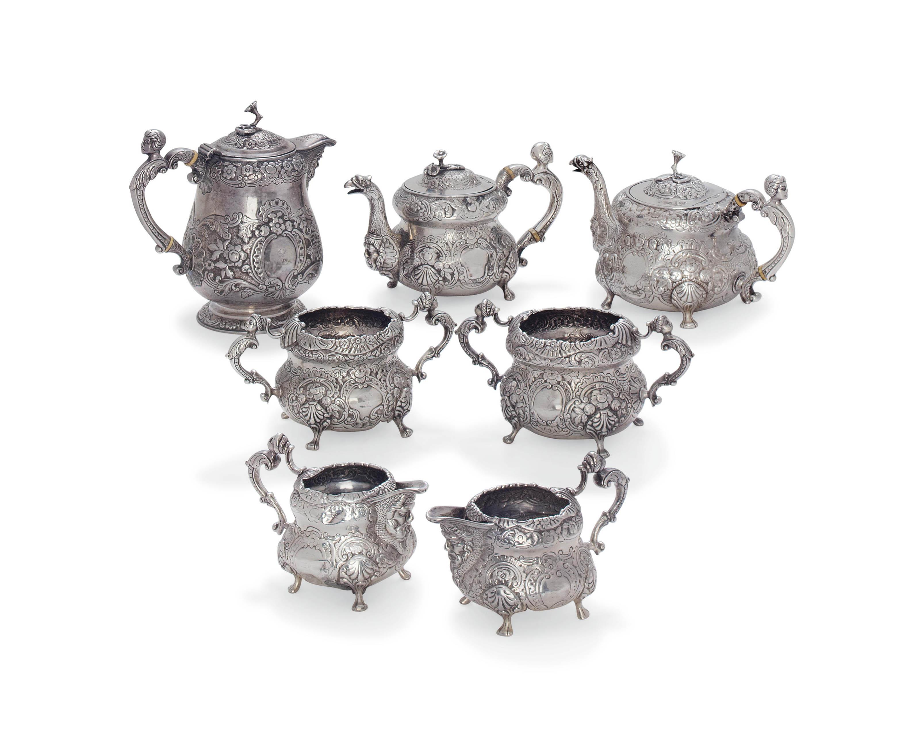 A GEORGE III IRISH SEVEN-PIECE SILVER TEA SERVICE