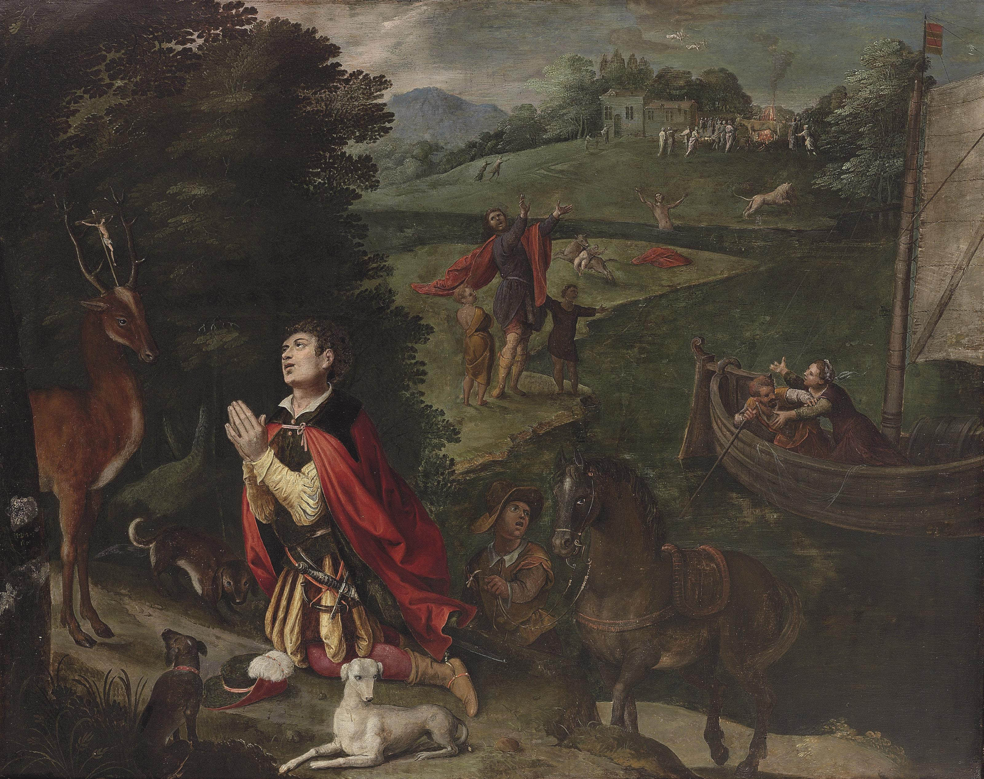 The Vision of Saint Eustace, other scenes with tests of his faith beyond