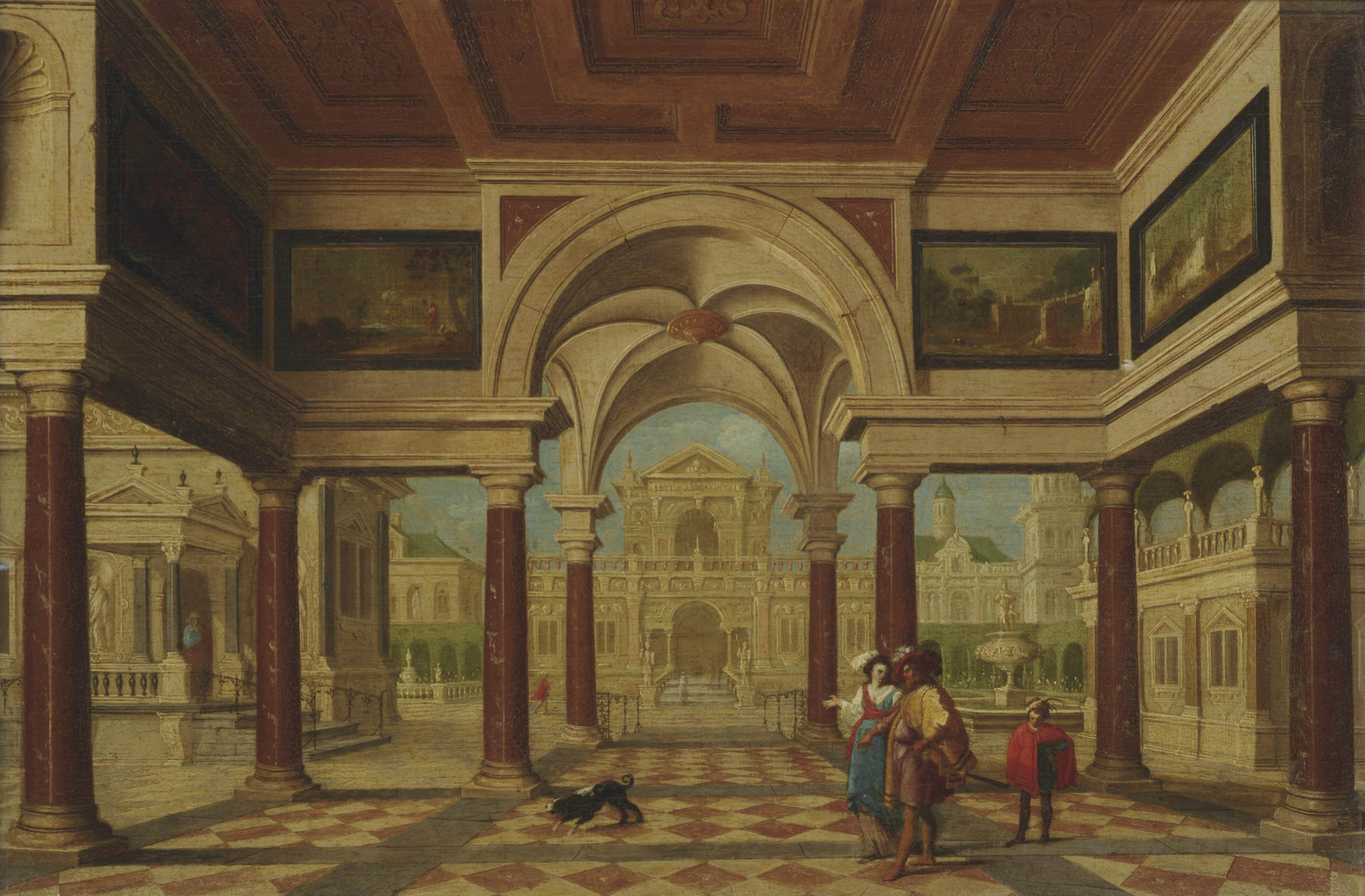 An architectural capriccio with an elegant couple before a courtyard