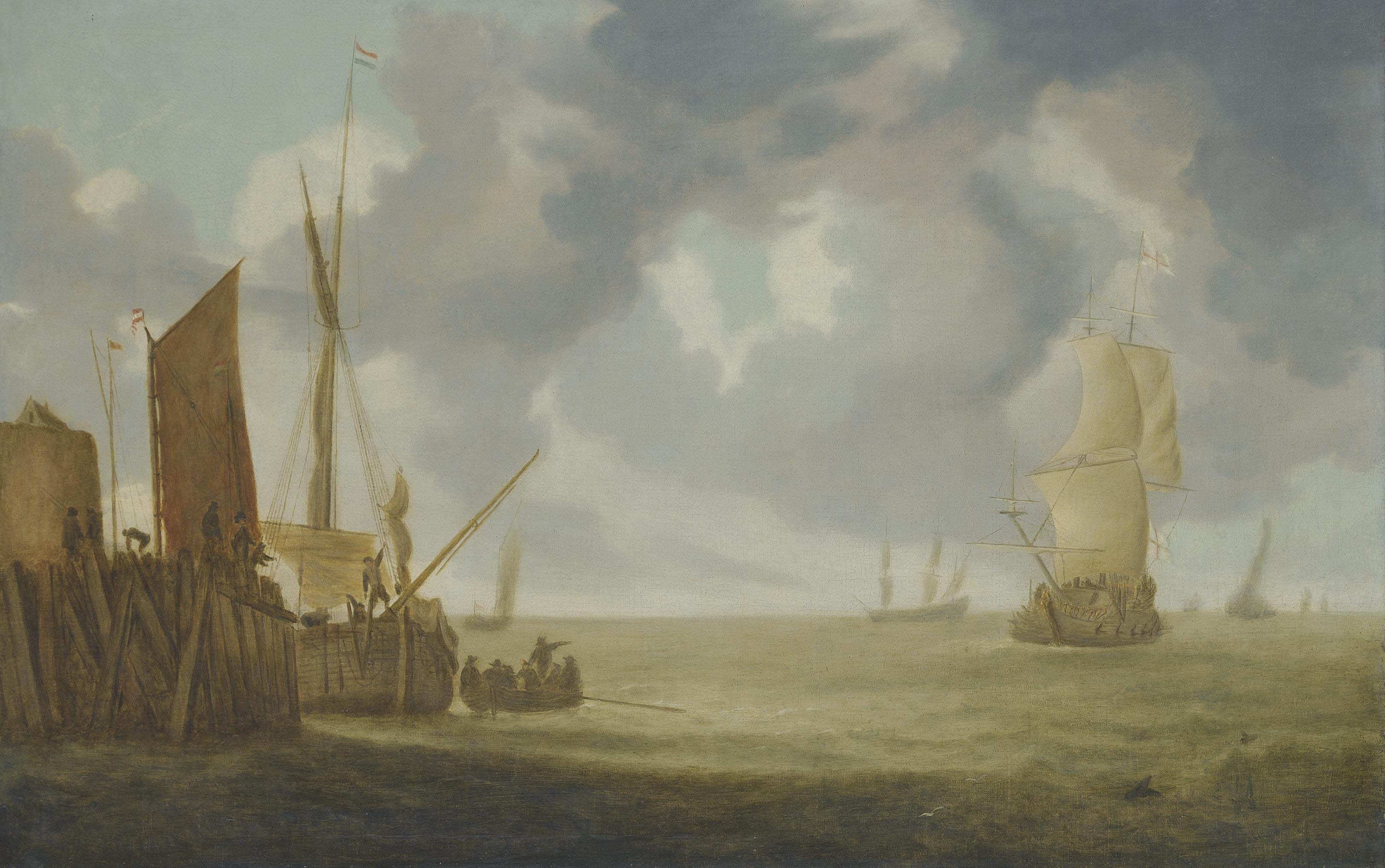 Shipping in a breeze, a man-o'-war and other shipping beyond